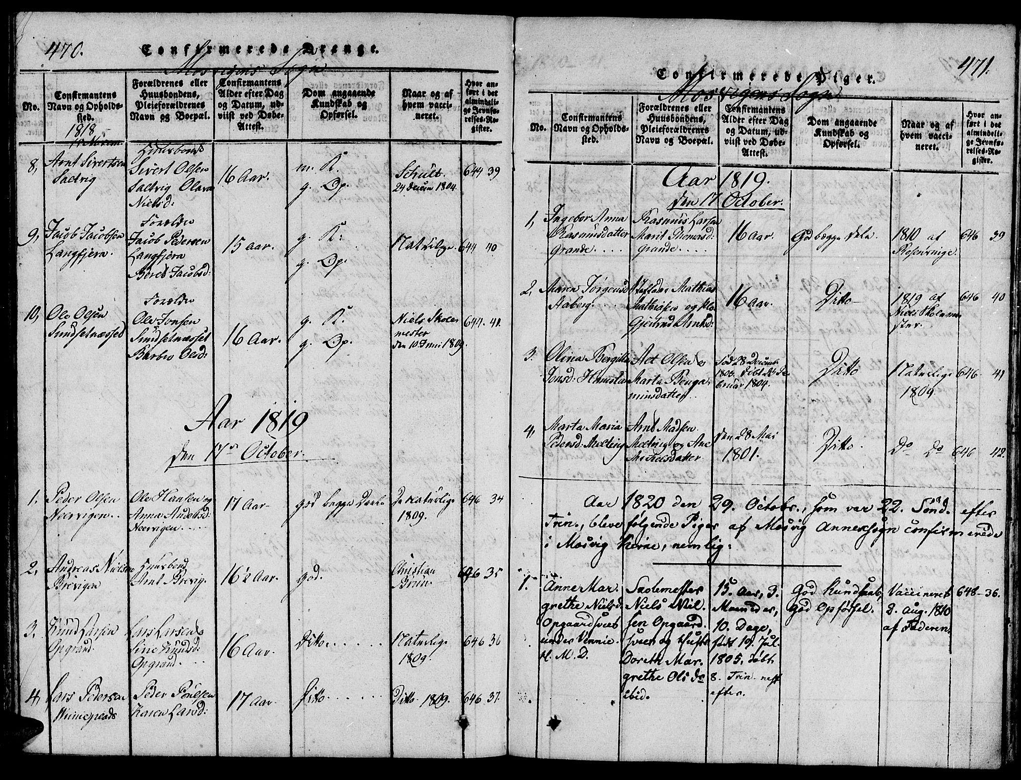 SAT, Ministerialprotokoller, klokkerbøker og fødselsregistre - Nord-Trøndelag, 733/L0322: Ministerialbok nr. 733A01, 1817-1842, s. 470-471
