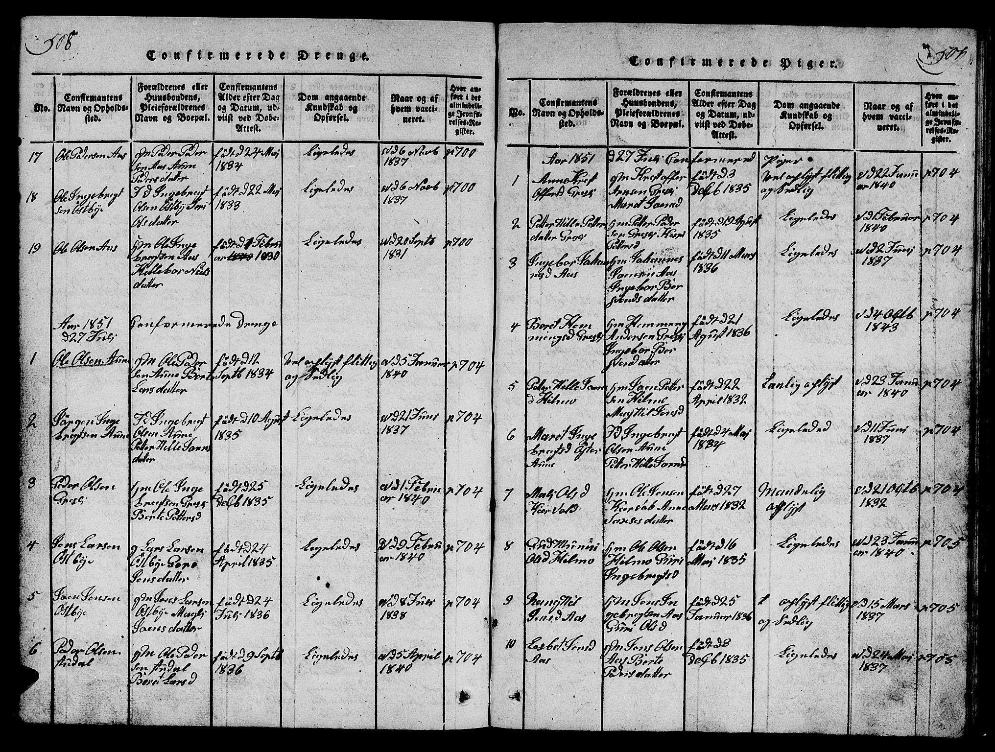 SAT, Ministerialprotokoller, klokkerbøker og fødselsregistre - Sør-Trøndelag, 698/L1164: Klokkerbok nr. 698C01, 1816-1861, s. 508-509
