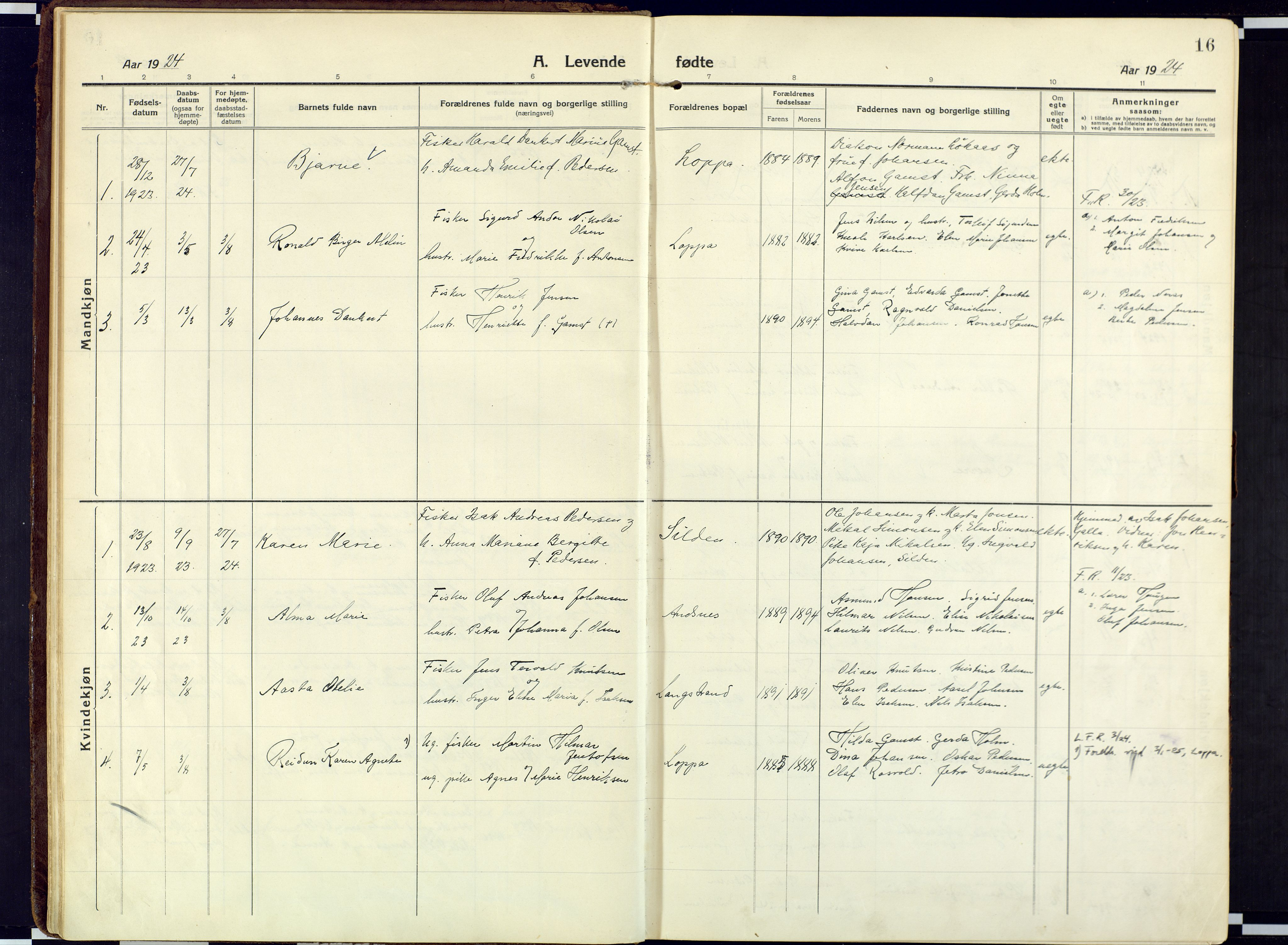 SATØ, Loppa sokneprestkontor, H/Ha/L0013kirke: Ministerialbok nr. 13, 1920-1932, s. 16