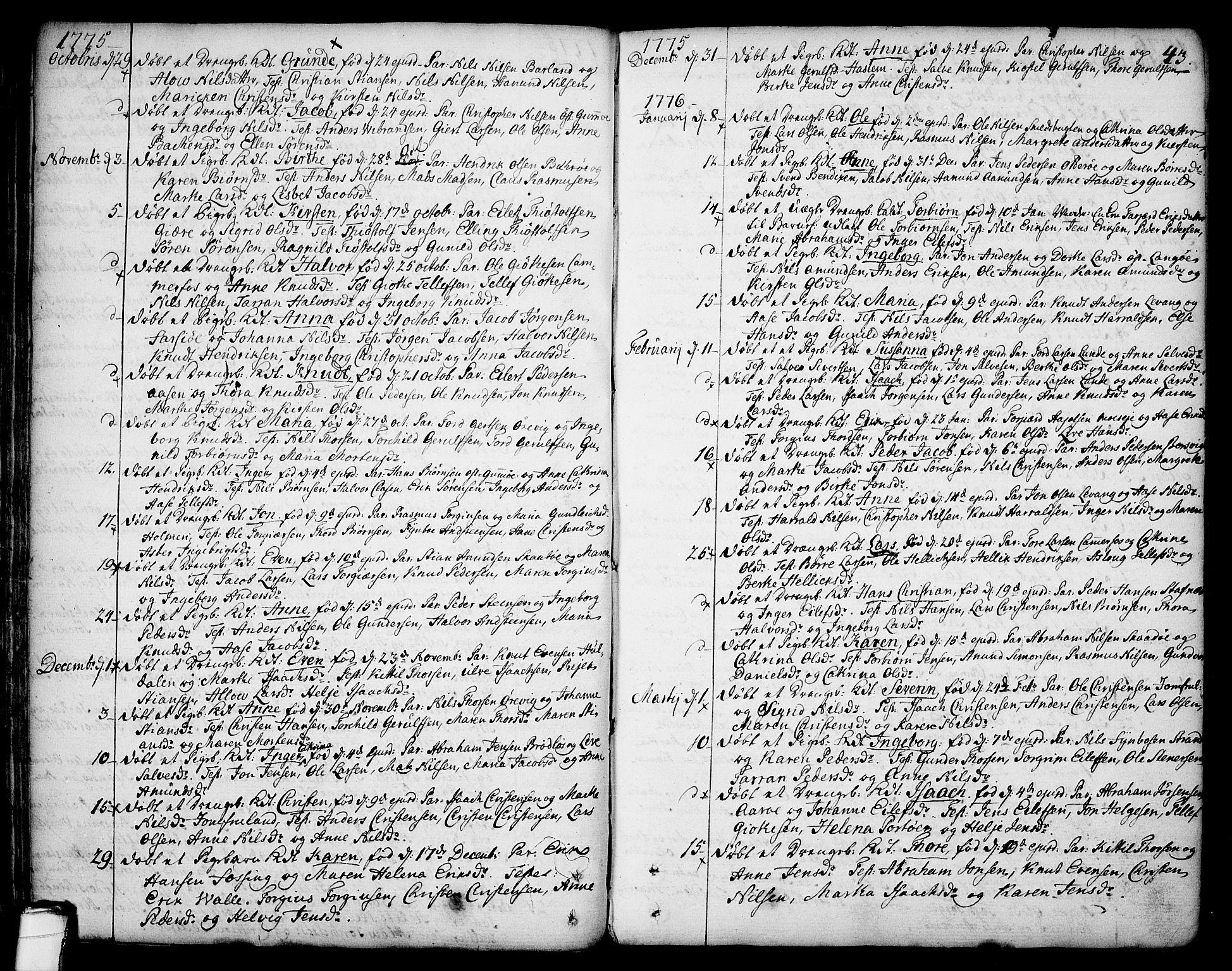 SAKO, Sannidal kirkebøker, F/Fa/L0002: Ministerialbok nr. 2, 1767-1802, s. 43