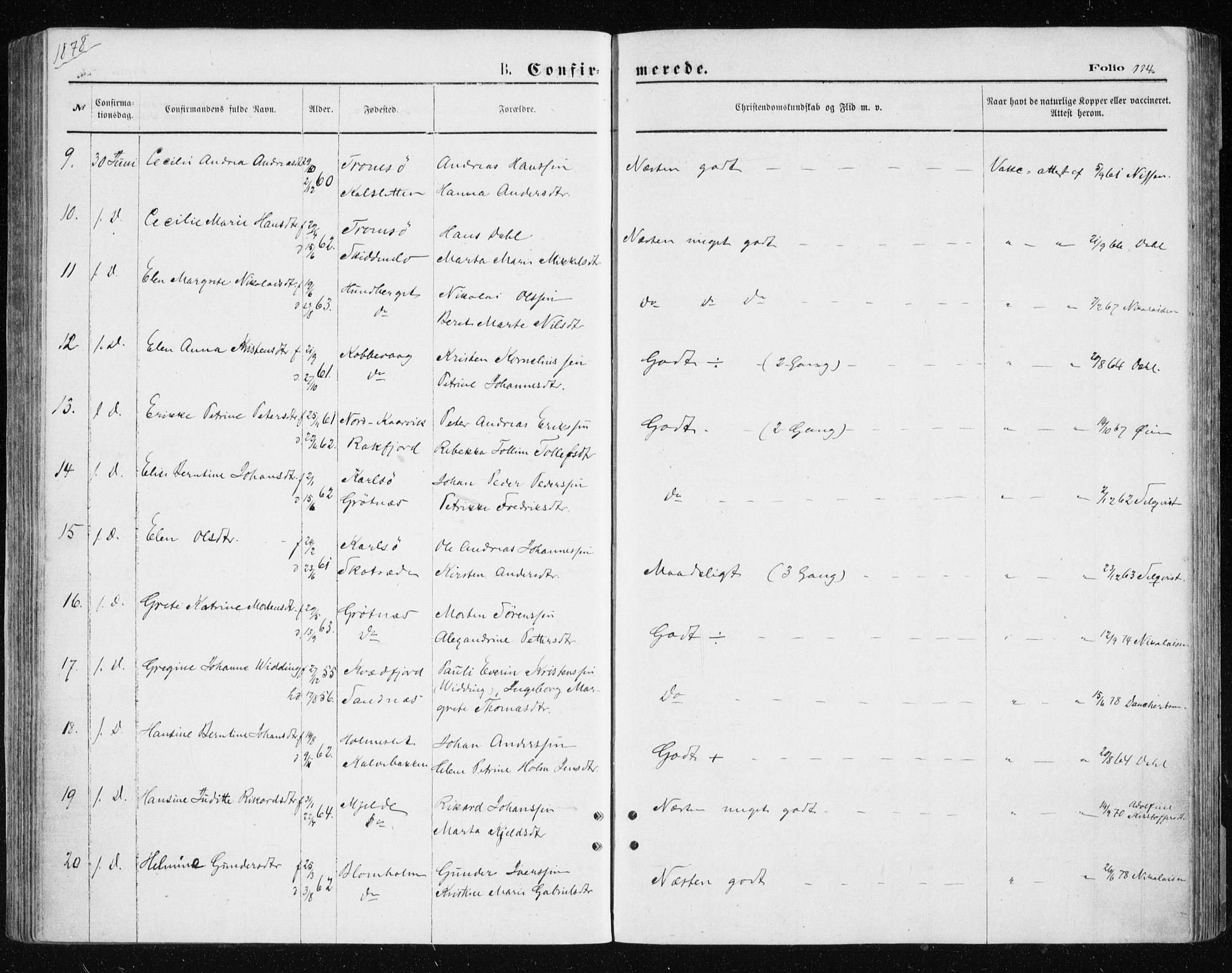 SATØ, Tromsøysund sokneprestkontor, G/Ga/L0003kirke: Ministerialbok nr. 3, 1875-1880, s. 114