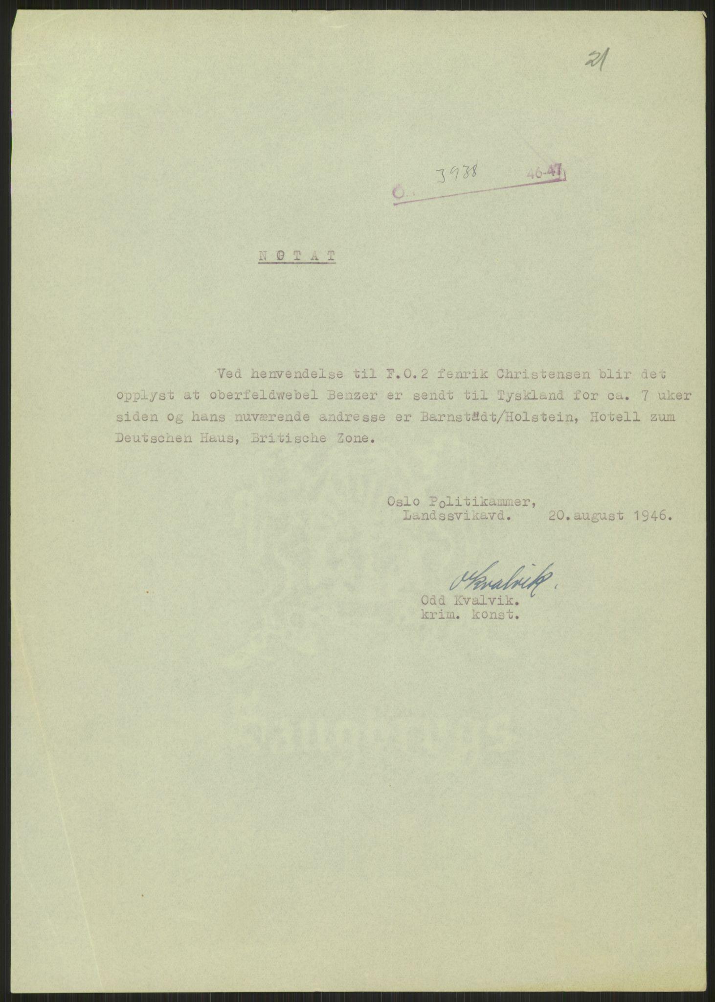 RA, Landssvikarkivet, Oslo politikammer, D/Dg/L0267: Henlagt hnr. 3658, 1945-1946, s. 274