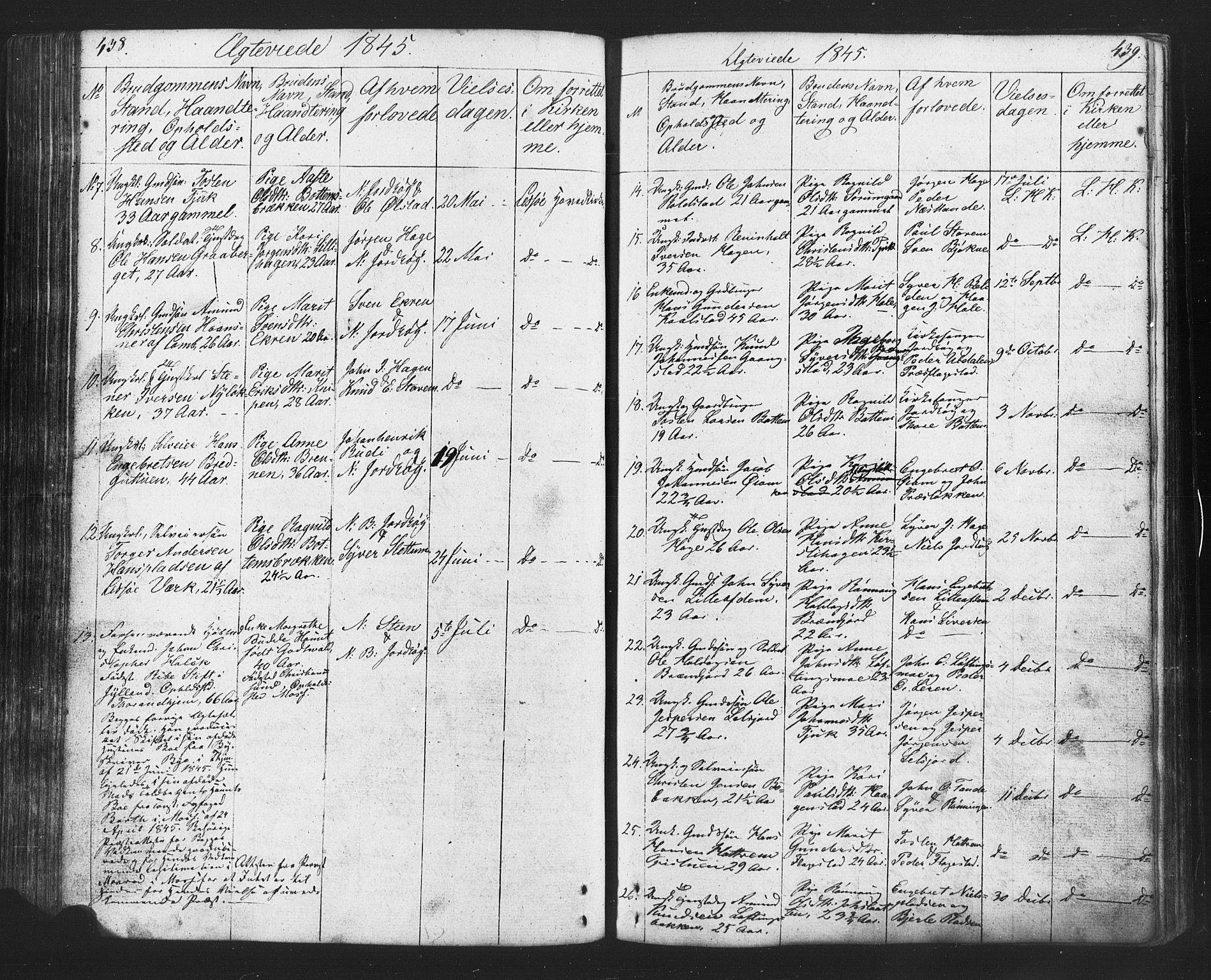 SAH, Lesja prestekontor, Klokkerbok nr. 2, 1832-1850, s. 438-439