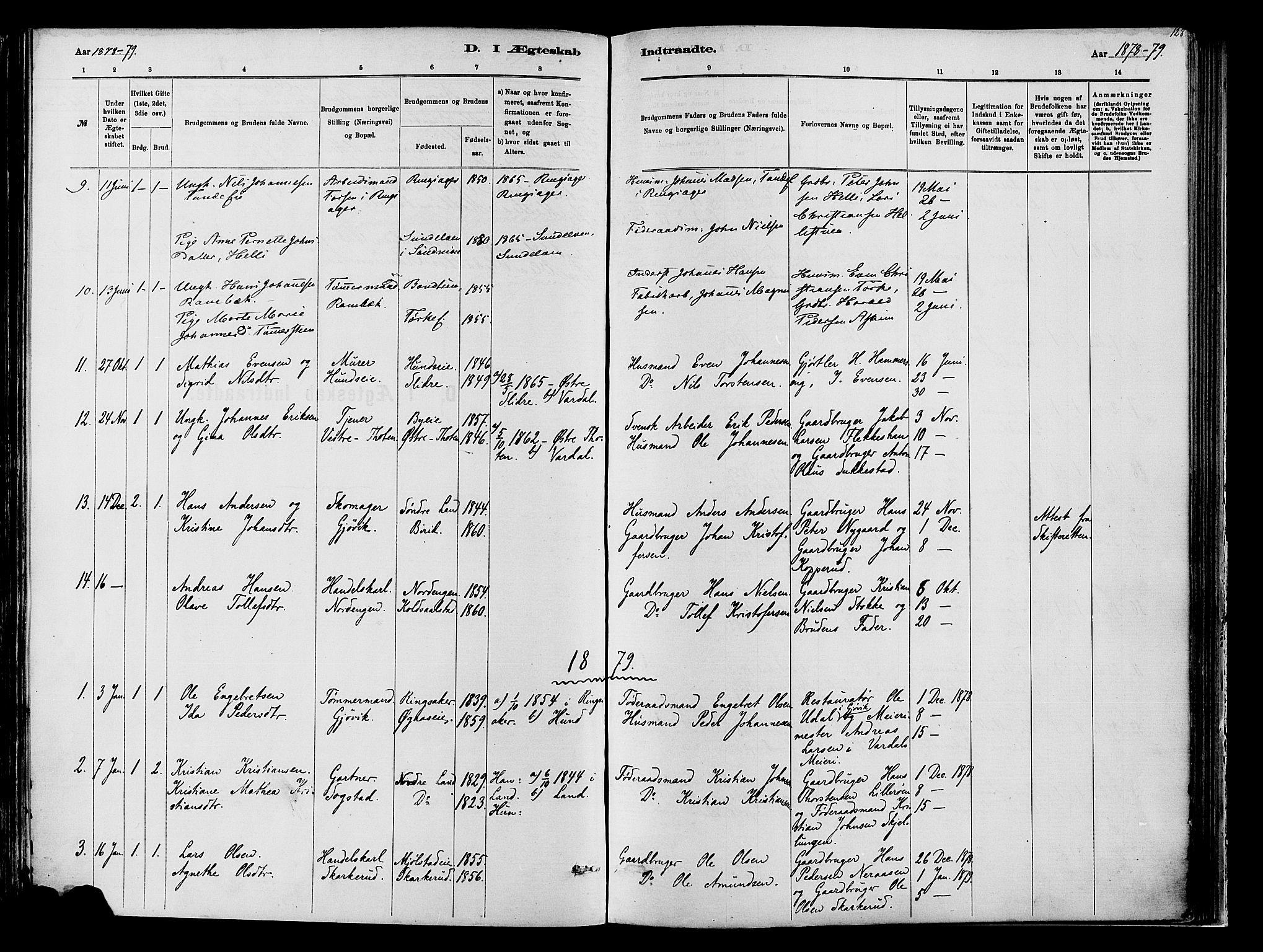SAH, Vardal prestekontor, H/Ha/Haa/L0009: Ministerialbok nr. 9, 1878-1892, s. 128