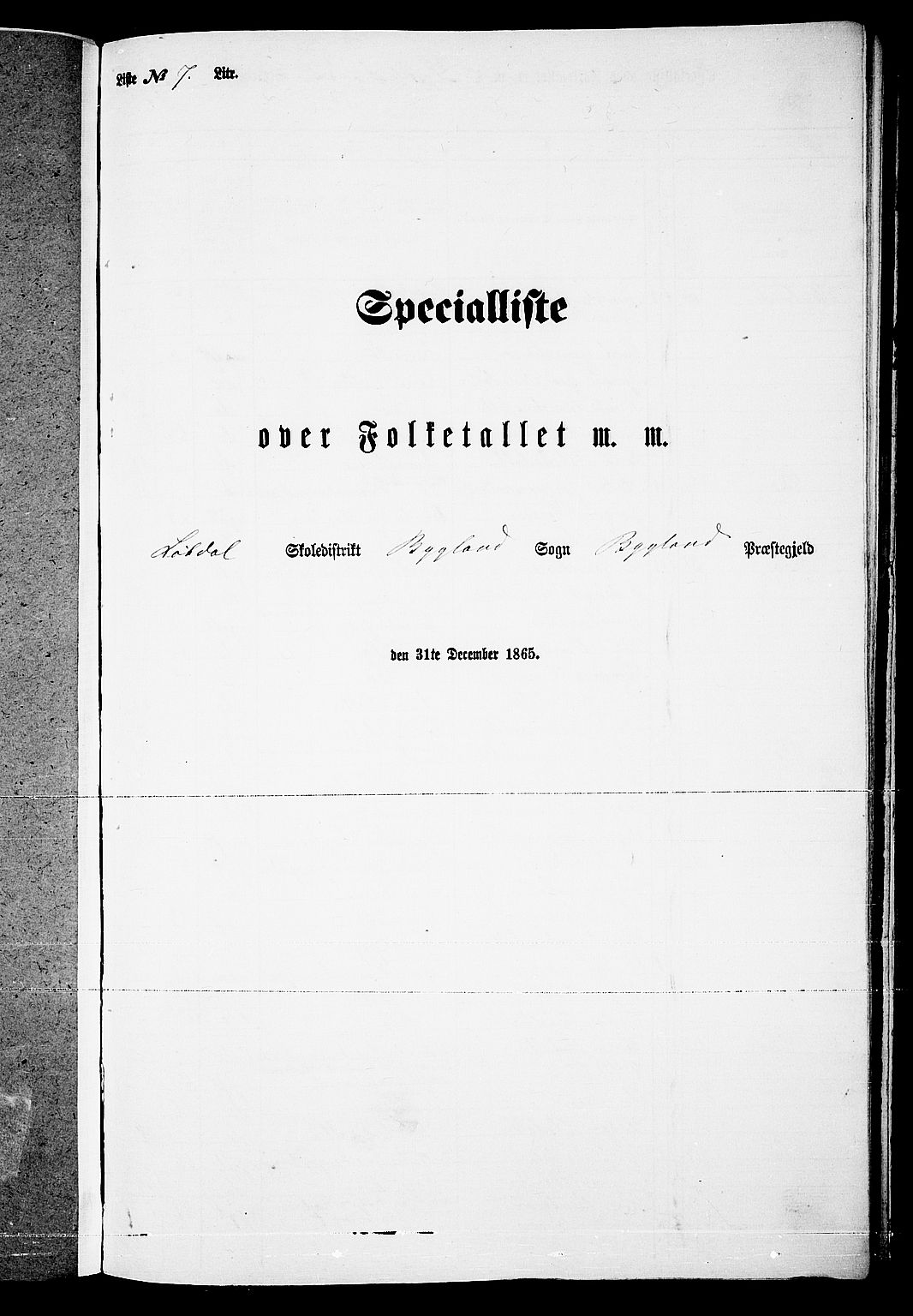 RA, Folketelling 1865 for 0938P Bygland prestegjeld, 1865, s. 68