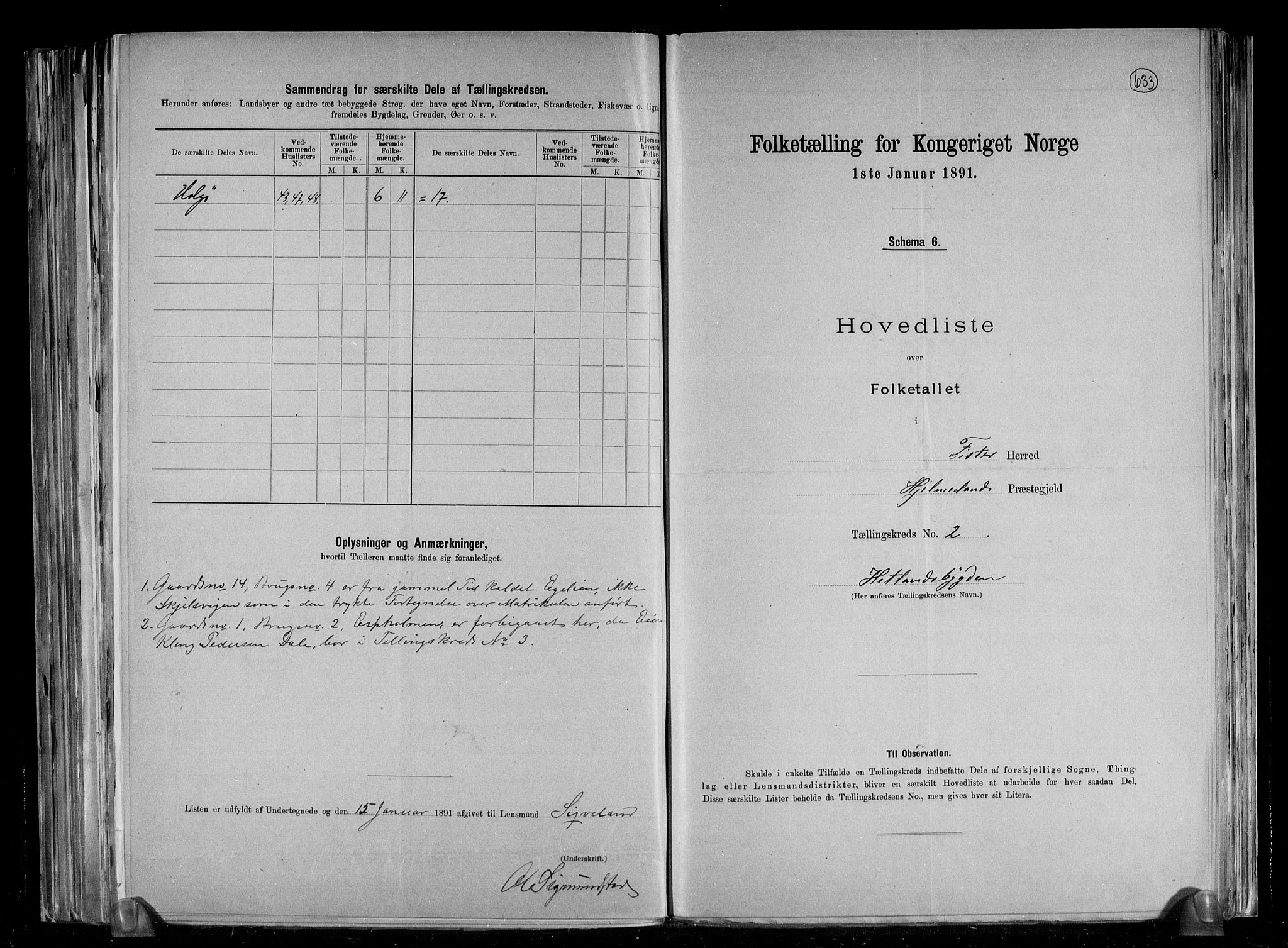 RA, Folketelling 1891 for 1132 Fister herred, 1891, s. 6