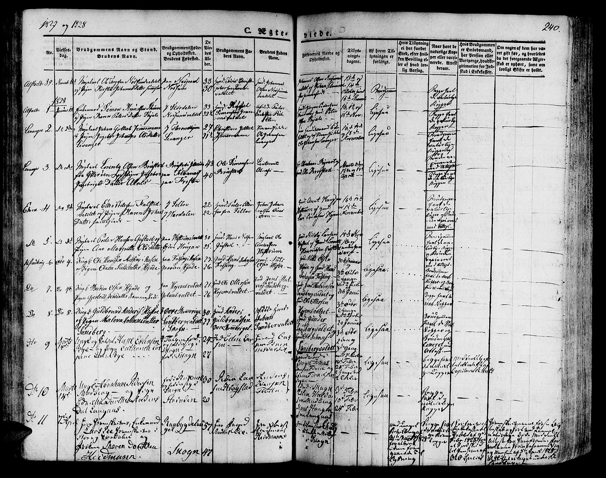 SAT, Ministerialprotokoller, klokkerbøker og fødselsregistre - Nord-Trøndelag, 717/L0152: Ministerialbok nr. 717A05 /1, 1825-1836, s. 240