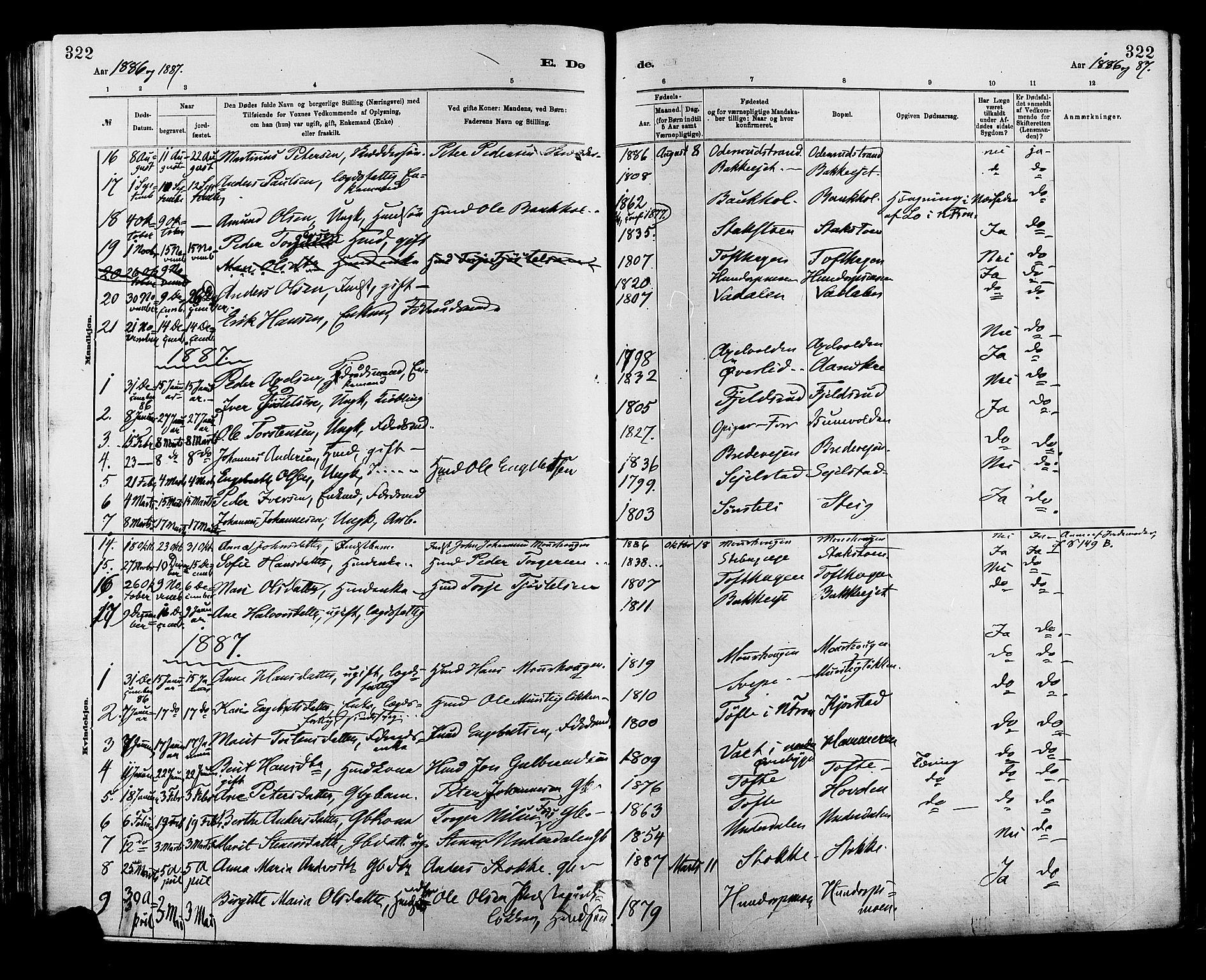 SAH, Sør-Fron prestekontor, H/Ha/Haa/L0003: Ministerialbok nr. 3, 1881-1897, s. 322