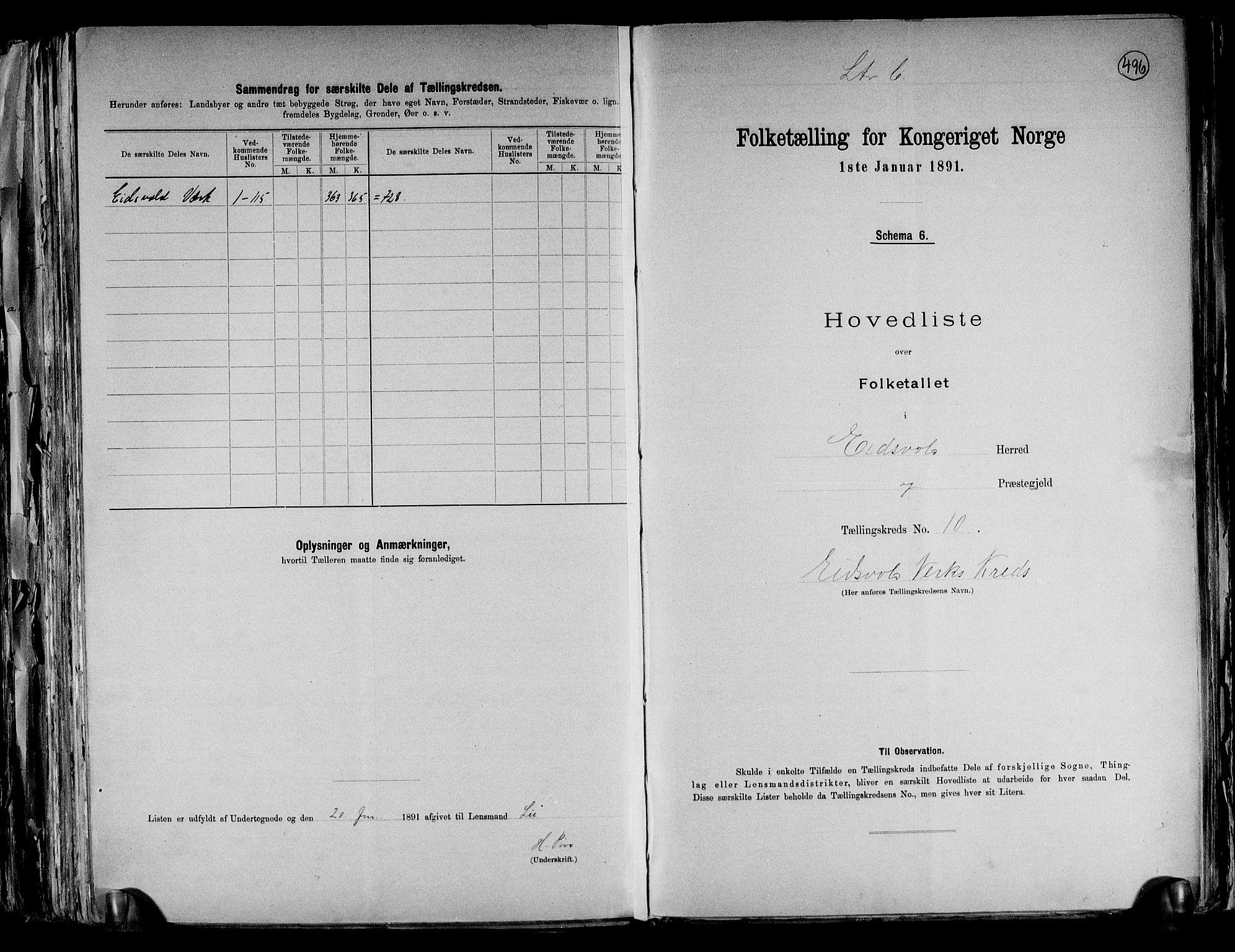 RA, Folketelling 1891 for 0237 Eidsvoll herred, 1891, s. 33