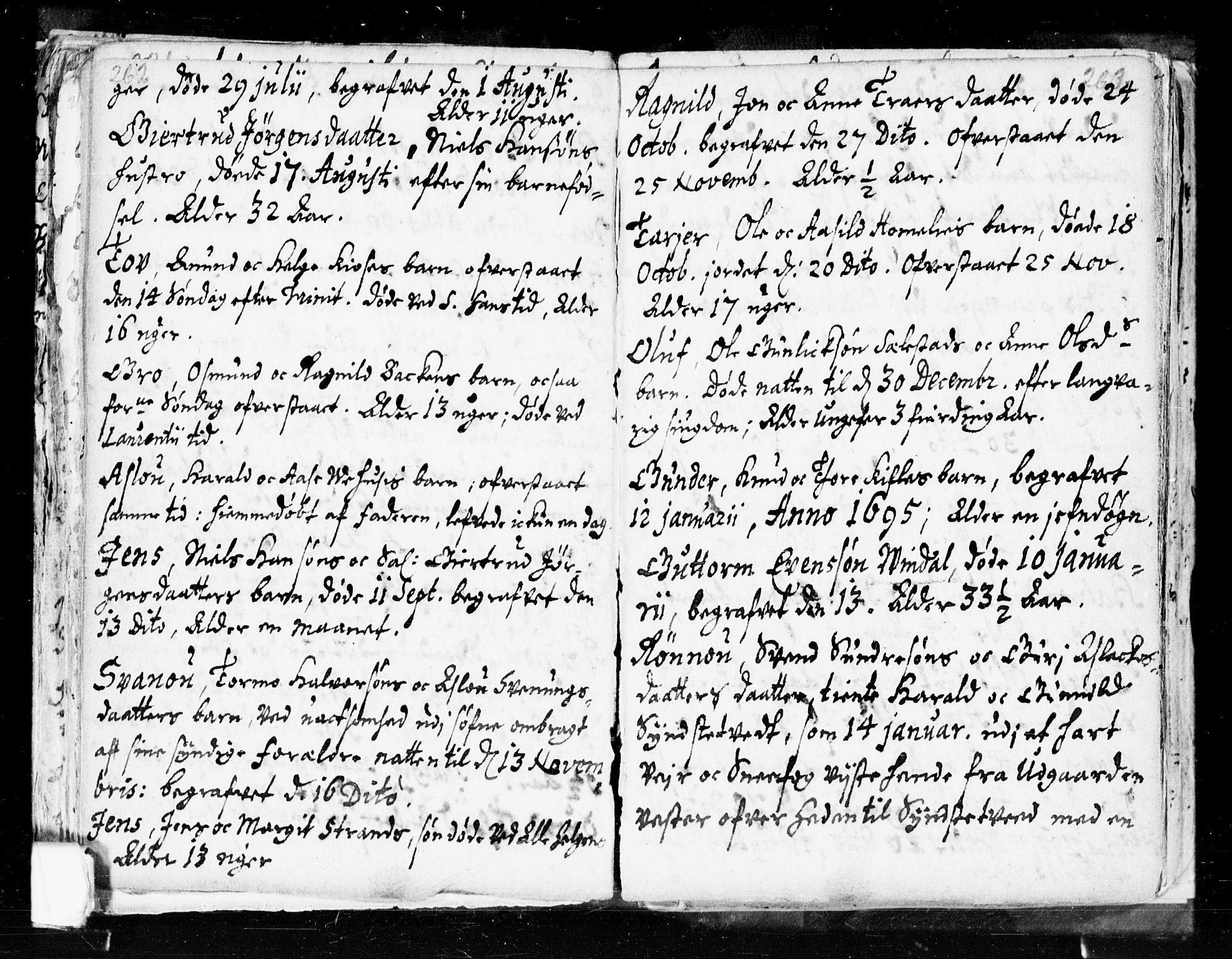 SAKO, Seljord kirkebøker, F/Fa/L0002: Ministerialbok nr. I 2, 1689-1713, s. 262-263