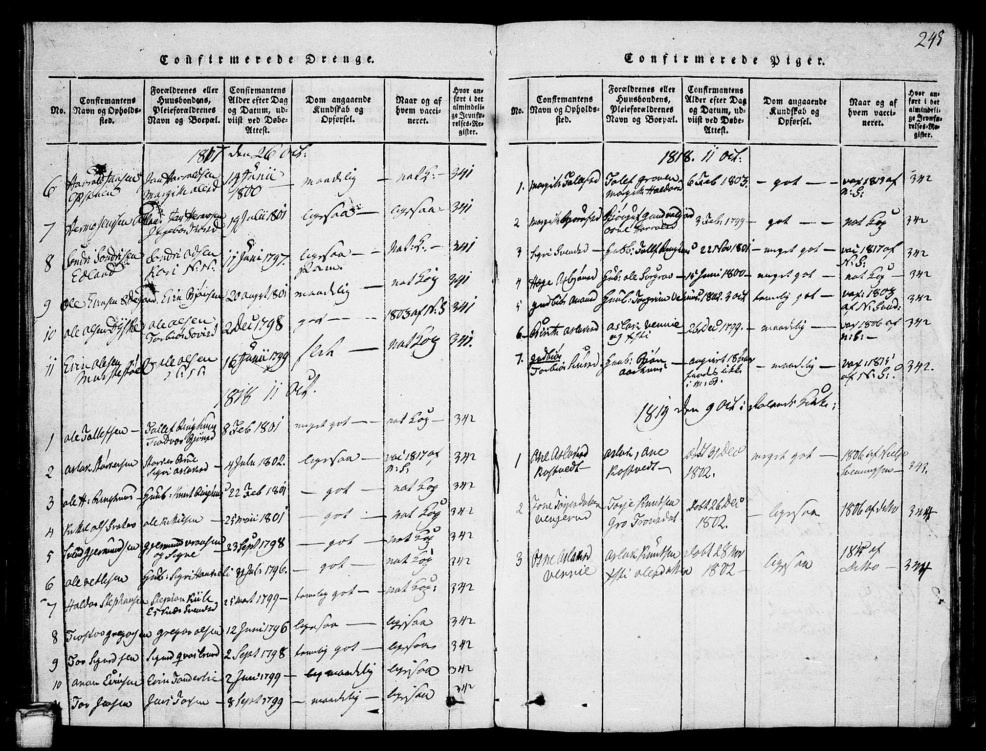 SAKO, Vinje kirkebøker, G/Ga/L0001: Klokkerbok nr. I 1, 1814-1843, s. 245