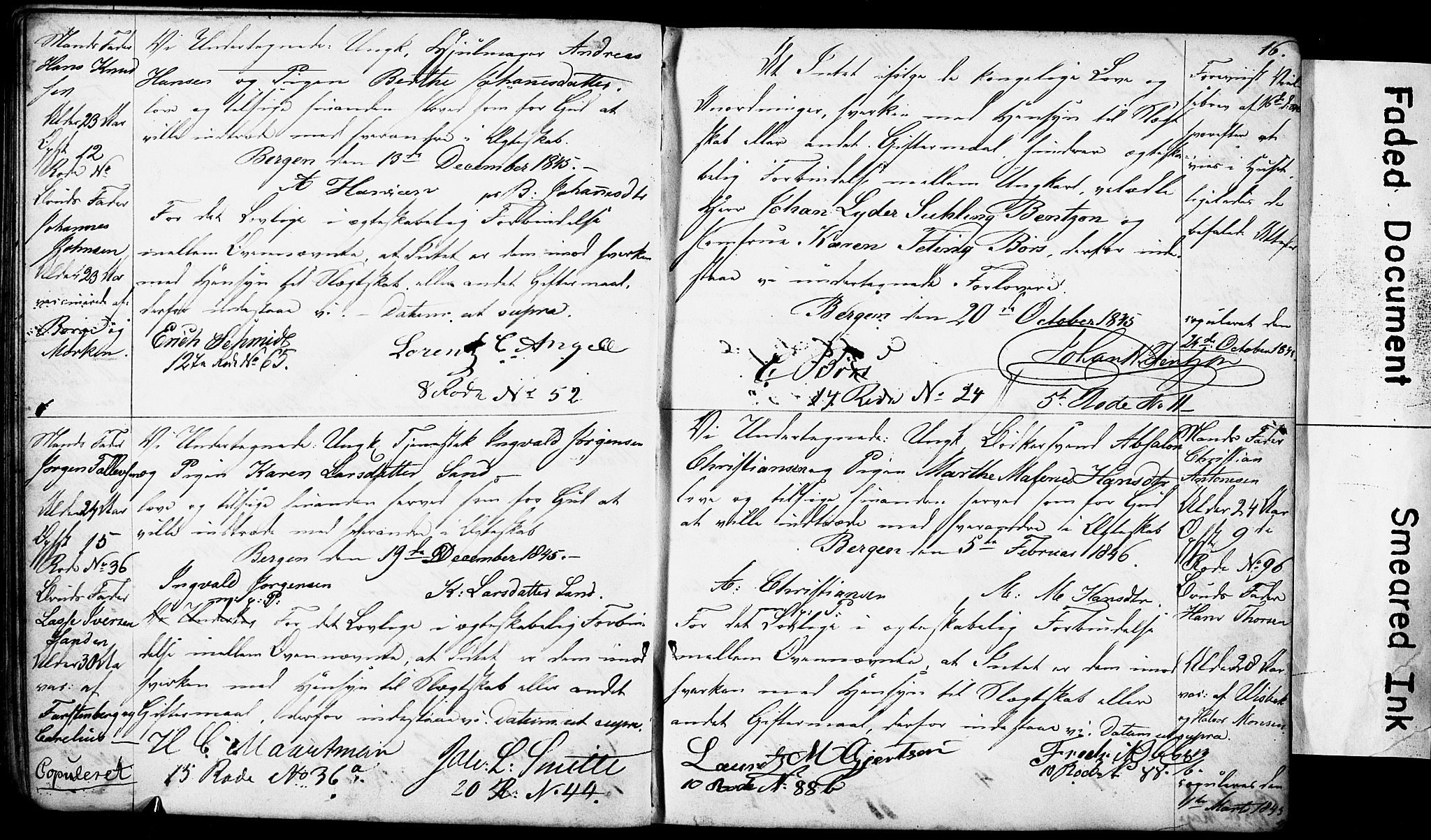 SAB, Domkirken Sokneprestembete, Forlovererklæringer nr. II.5.4, 1845-1852, s. 16