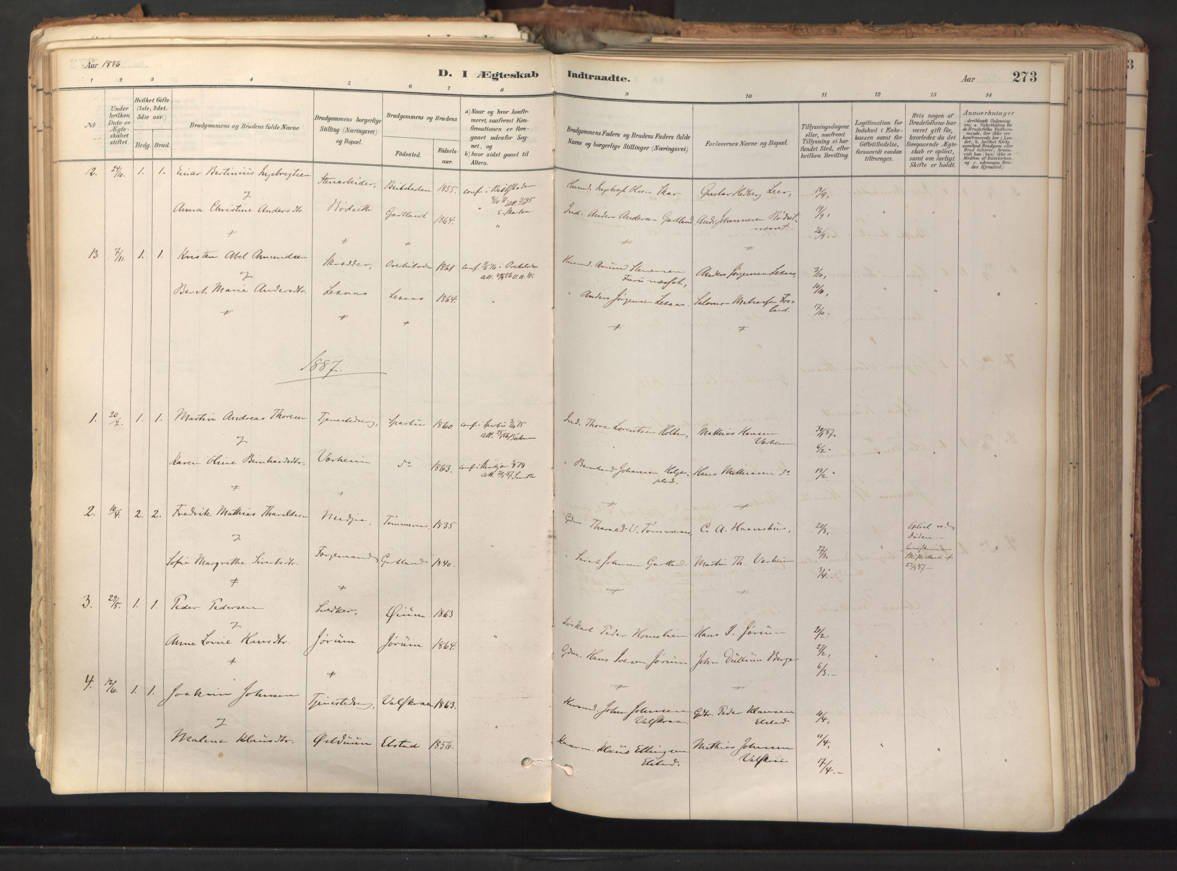 SAT, Ministerialprotokoller, klokkerbøker og fødselsregistre - Nord-Trøndelag, 758/L0519: Ministerialbok nr. 758A04, 1880-1926, s. 273