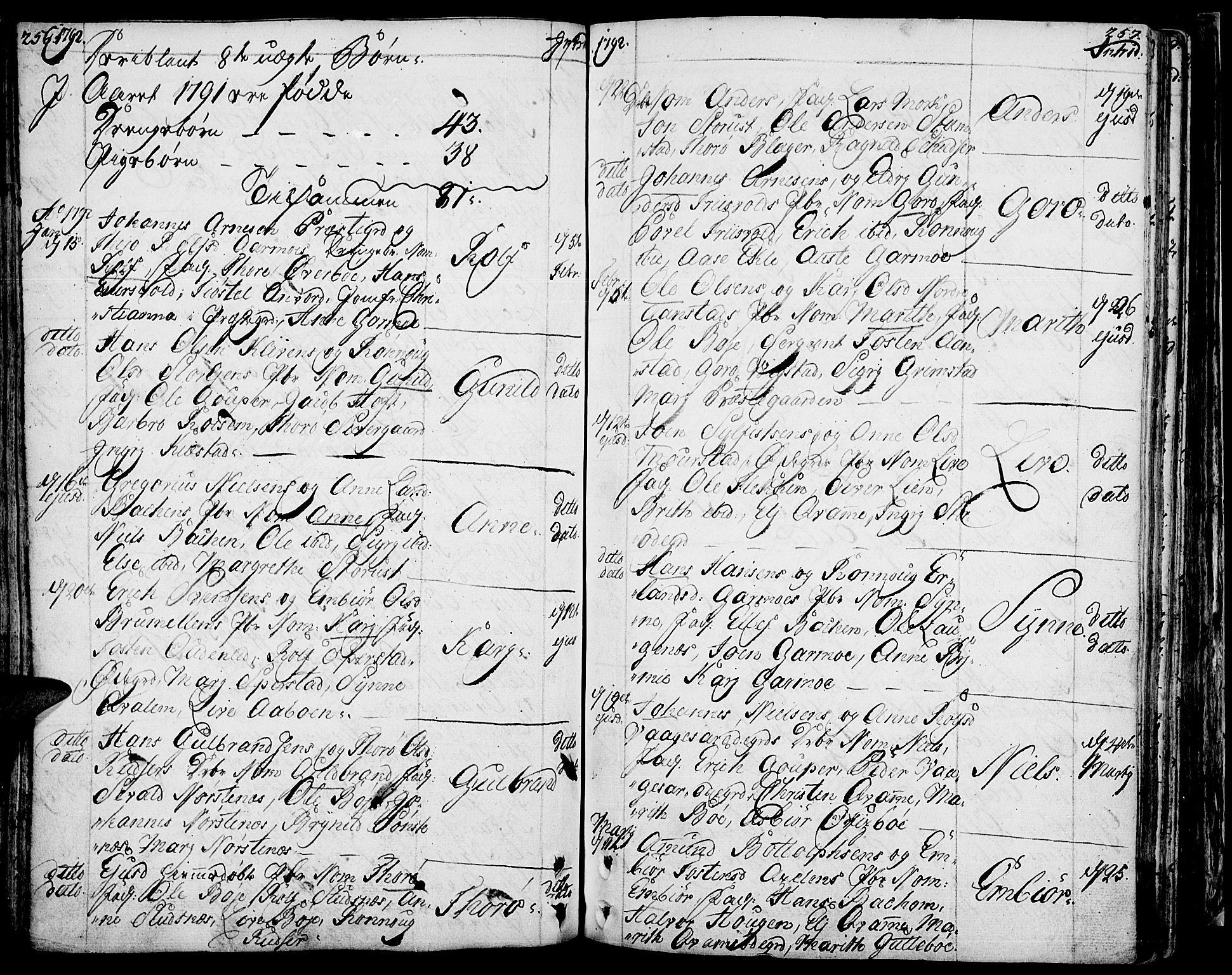 SAH, Lom prestekontor, K/L0002: Ministerialbok nr. 2, 1749-1801, s. 256-257