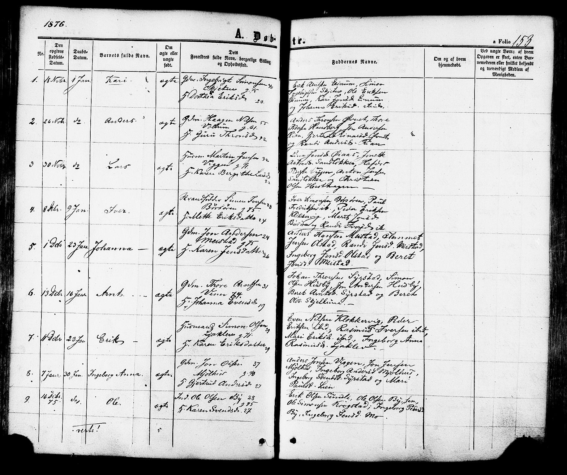 SAT, Ministerialprotokoller, klokkerbøker og fødselsregistre - Sør-Trøndelag, 665/L0772: Ministerialbok nr. 665A07, 1856-1878, s. 153
