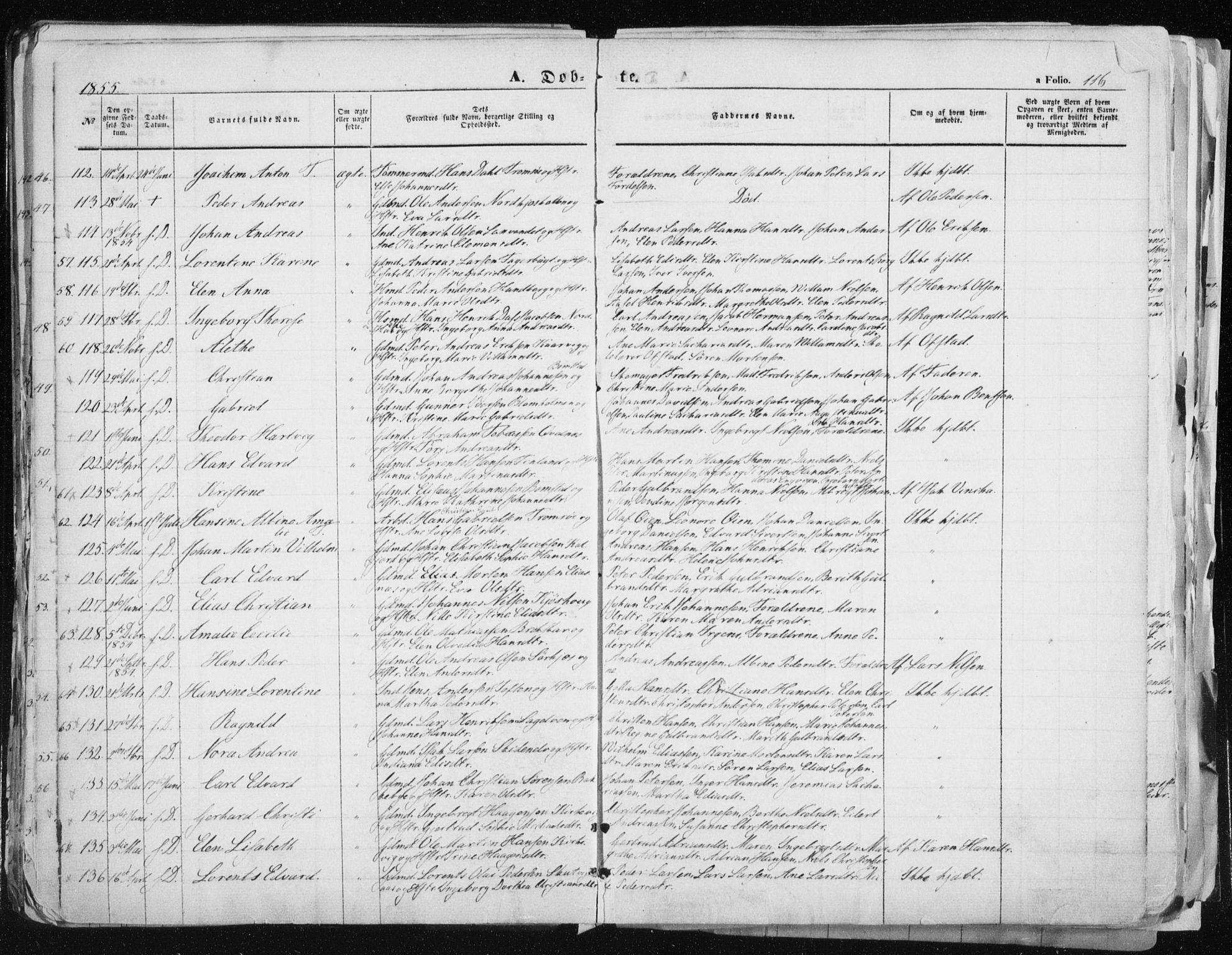 SATØ, Tromsø sokneprestkontor/stiftsprosti/domprosti, G/Ga/L0010kirke: Ministerialbok nr. 10, 1848-1855, s. 116
