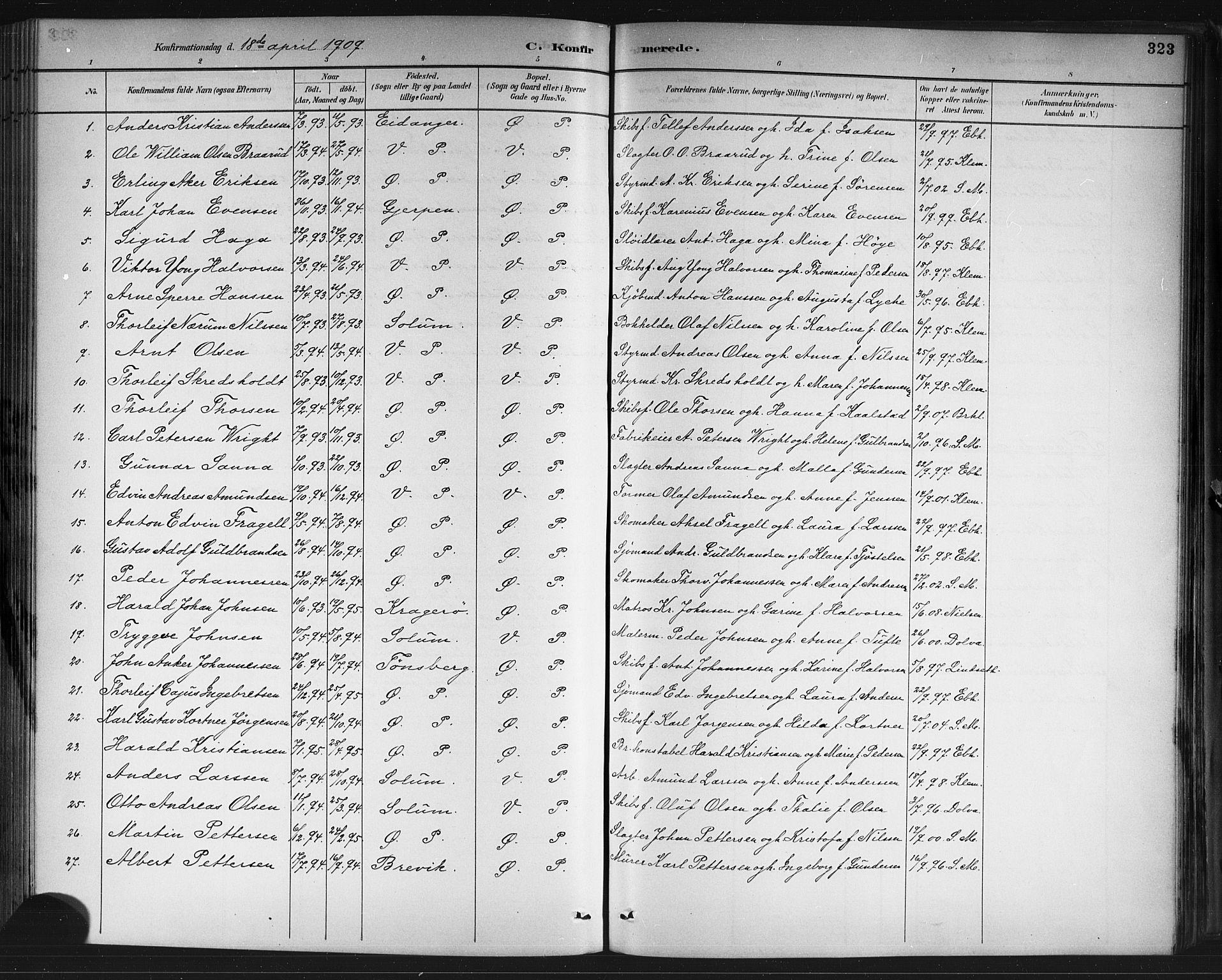 SAKO, Porsgrunn kirkebøker , G/Gb/L0005: Klokkerbok nr. II 5, 1883-1915, s. 323