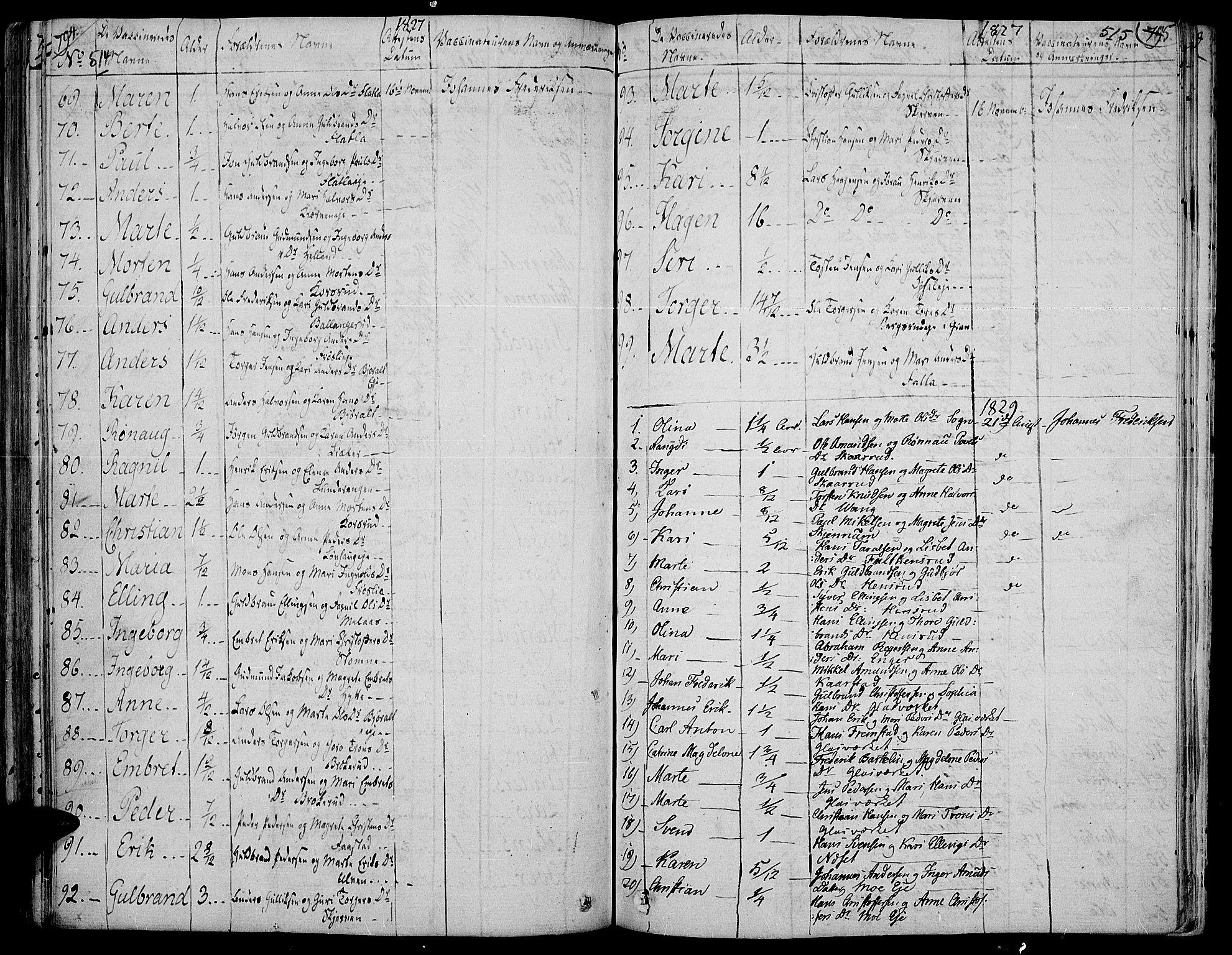 SAH, Jevnaker prestekontor, Ministerialbok nr. 4, 1800-1861, s. 514-515