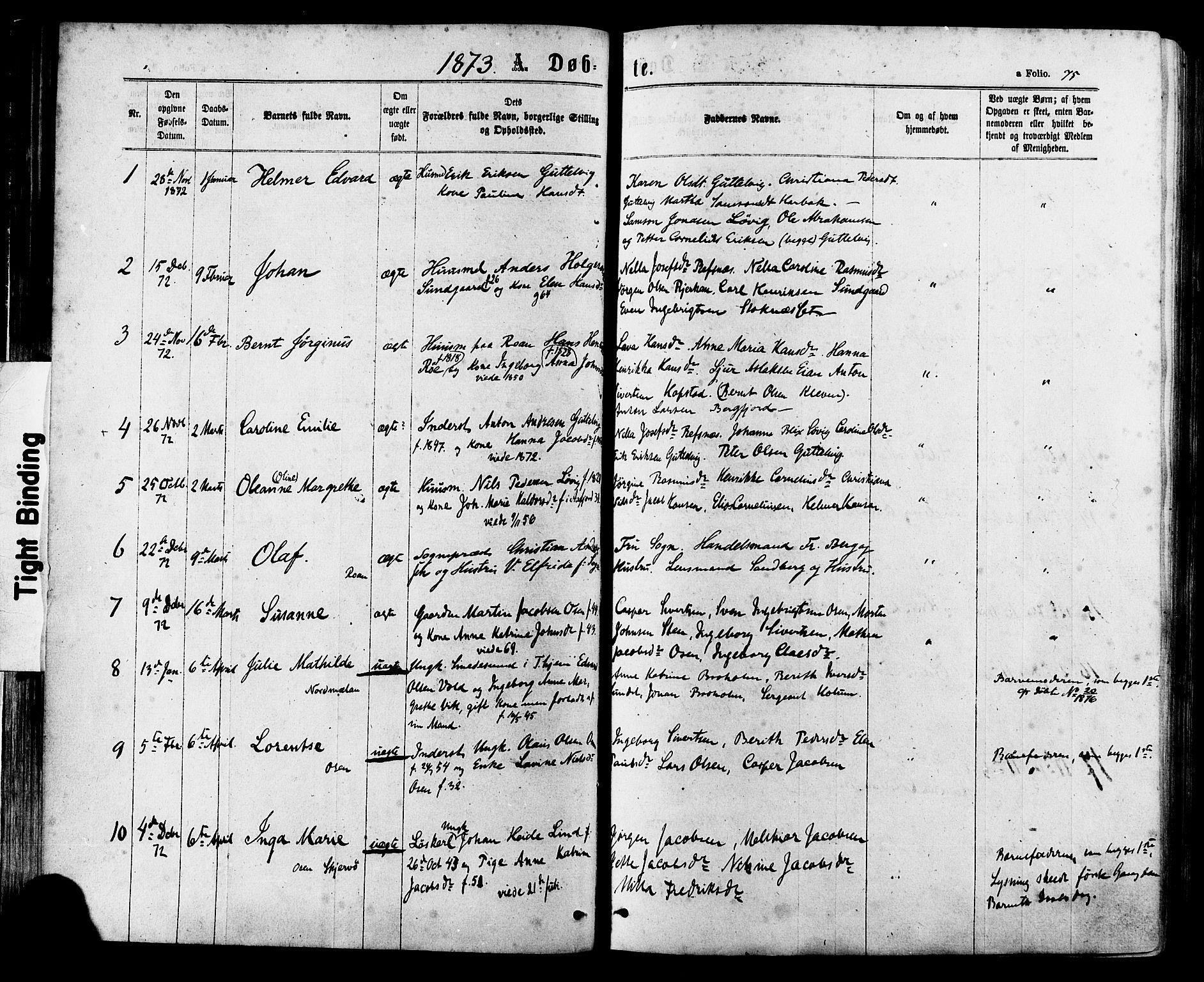 SAT, Ministerialprotokoller, klokkerbøker og fødselsregistre - Sør-Trøndelag, 657/L0706: Ministerialbok nr. 657A07, 1867-1878, s. 75