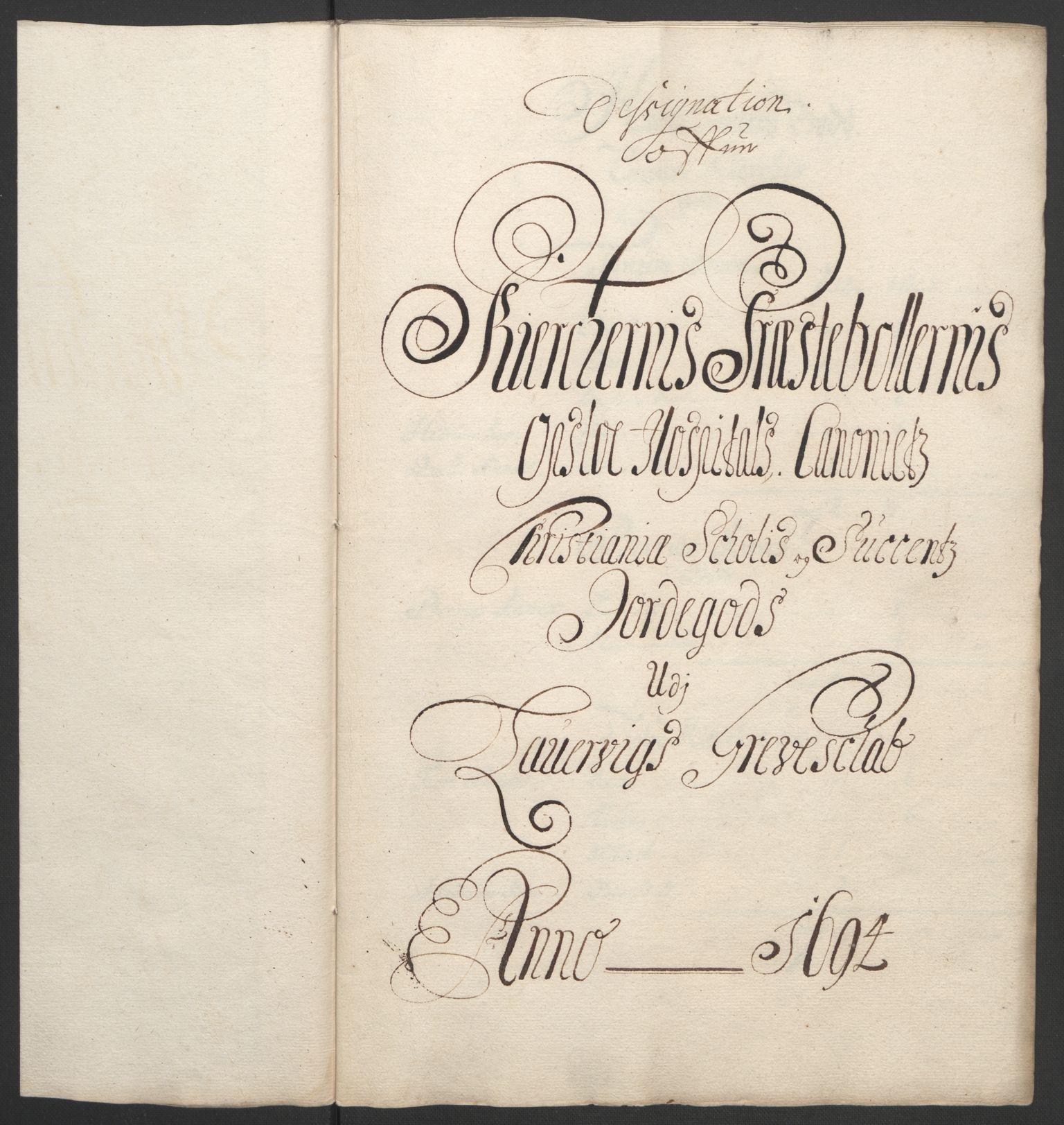RA, Rentekammeret inntil 1814, Reviderte regnskaper, Fogderegnskap, R33/L1974: Fogderegnskap Larvik grevskap, 1693-1695, s. 137