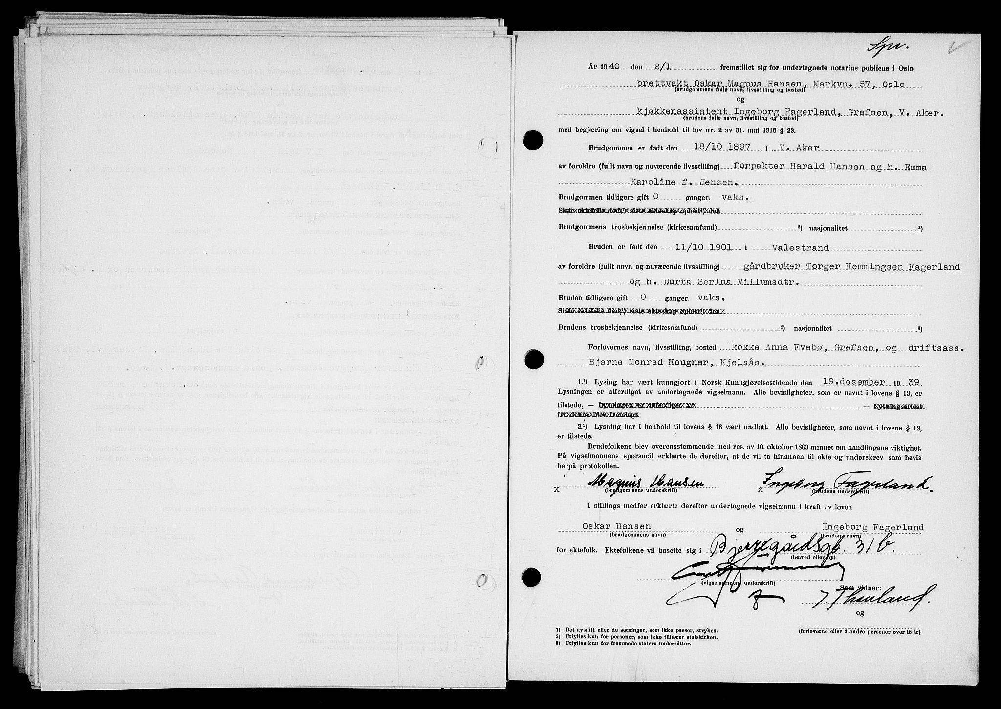 SAO, Oslo byfogd avd. I, L/Lb/Lbb/L0033: Notarialprotokoll, rekke II: Vigsler, 1939-1940, s. upaginert