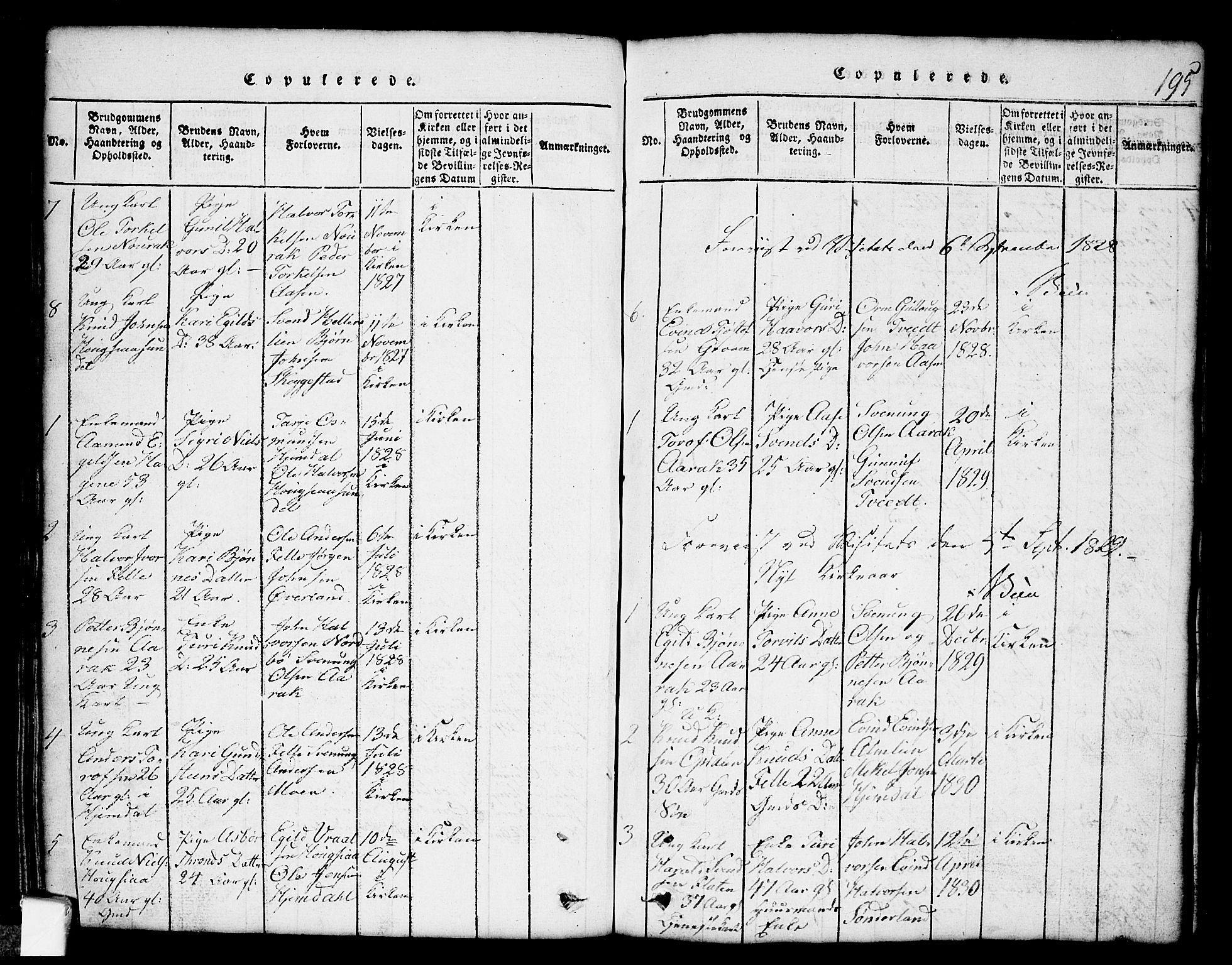SAKO, Nissedal kirkebøker, G/Gb/L0001: Klokkerbok nr. II 1, 1814-1862, s. 195