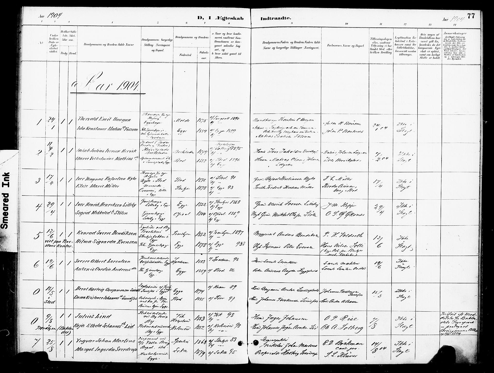 SAT, Ministerialprotokoller, klokkerbøker og fødselsregistre - Nord-Trøndelag, 740/L0379: Ministerialbok nr. 740A02, 1895-1907, s. 77