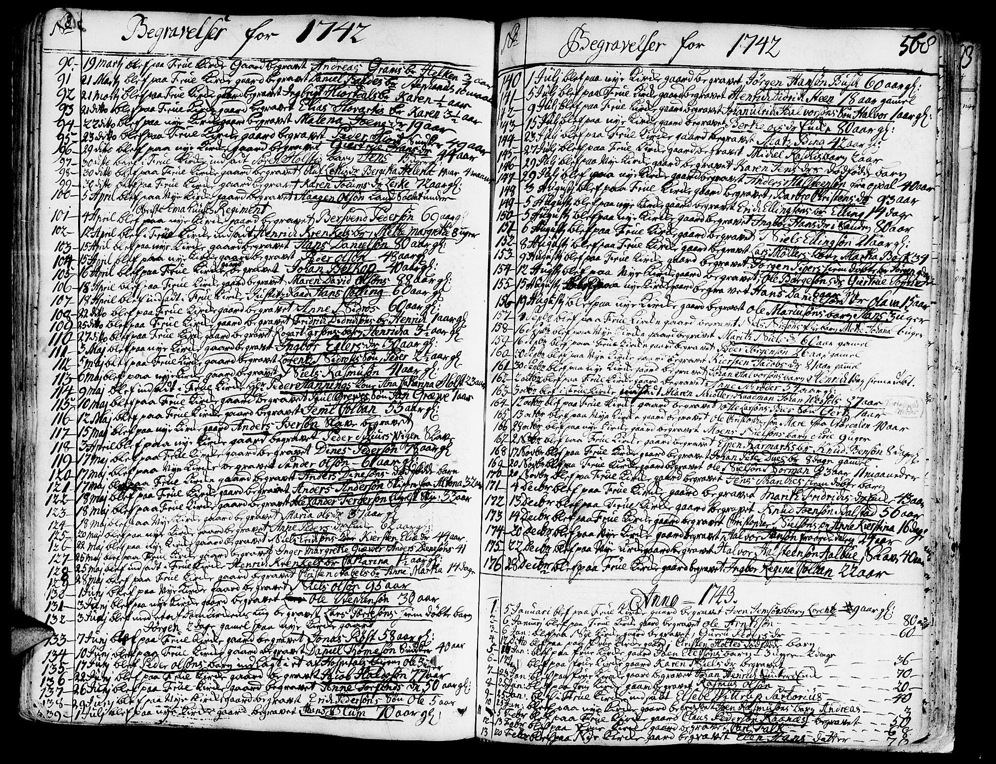SAT, Ministerialprotokoller, klokkerbøker og fødselsregistre - Sør-Trøndelag, 602/L0103: Ministerialbok nr. 602A01, 1732-1774, s. 568