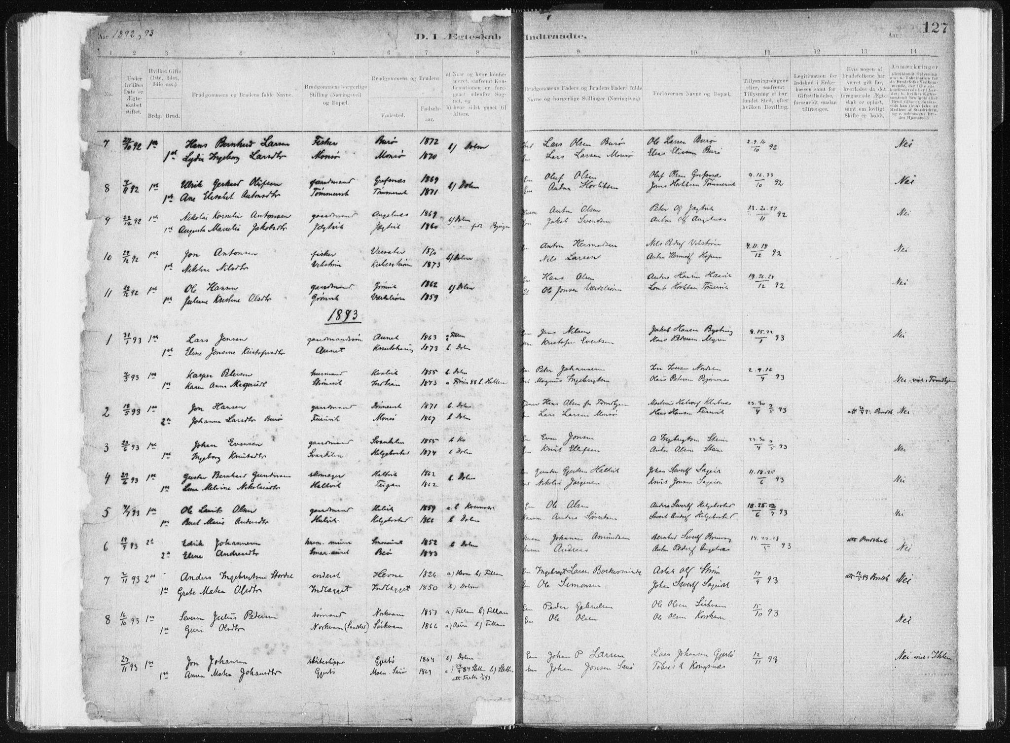 SAT, Ministerialprotokoller, klokkerbøker og fødselsregistre - Sør-Trøndelag, 634/L0533: Ministerialbok nr. 634A09, 1882-1901, s. 127