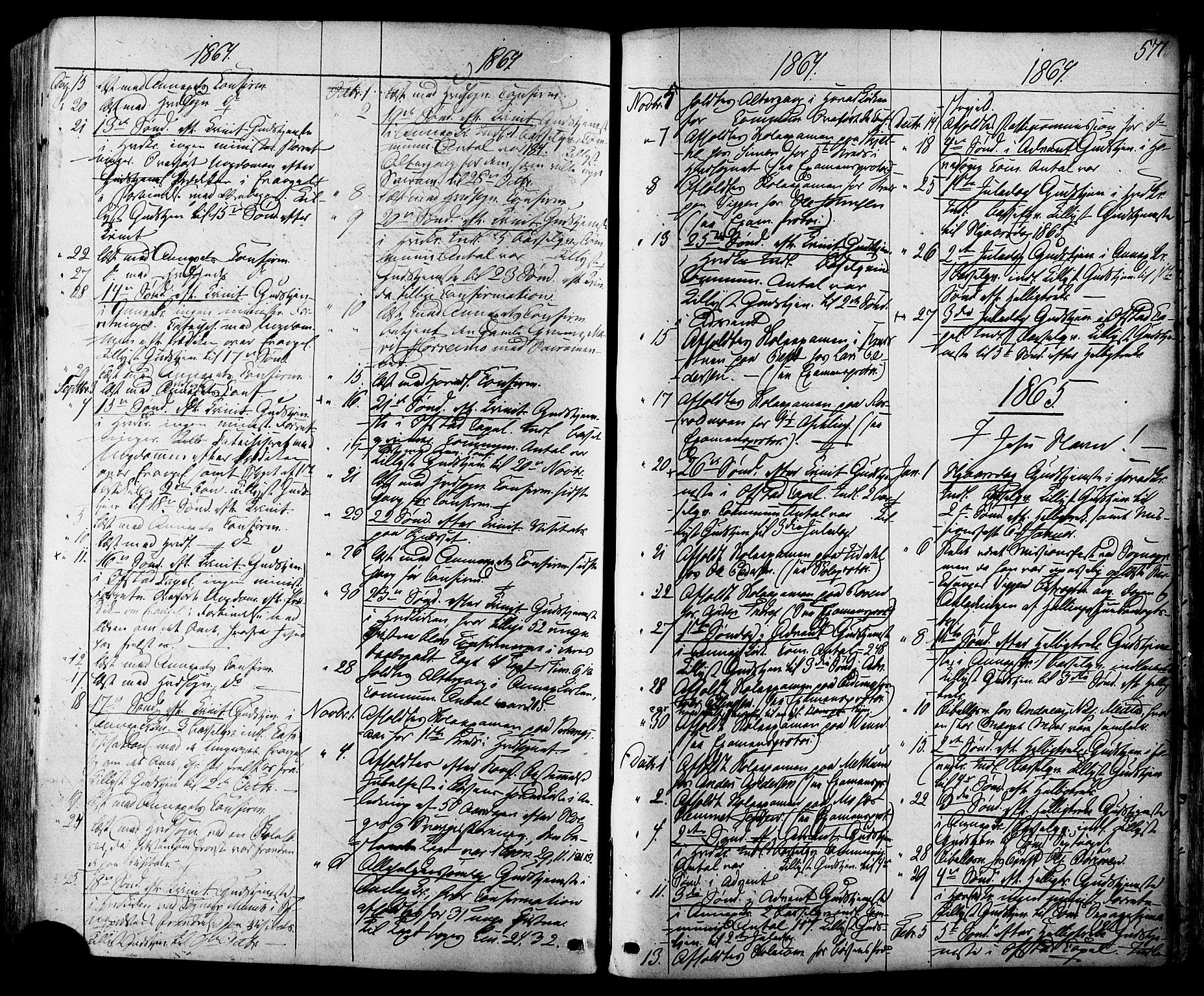SAT, Ministerialprotokoller, klokkerbøker og fødselsregistre - Sør-Trøndelag, 665/L0772: Ministerialbok nr. 665A07, 1856-1878, s. 571