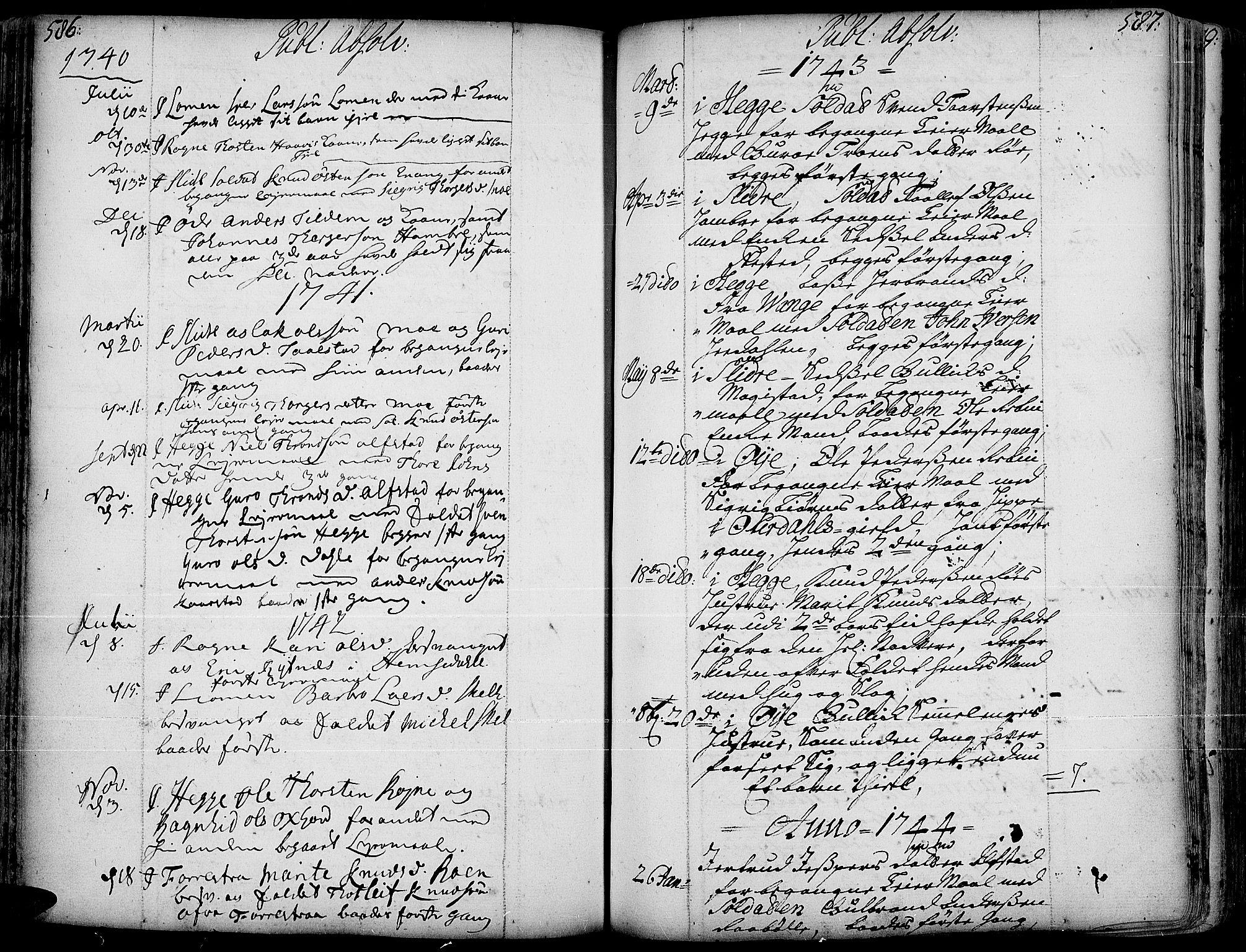 SAH, Slidre prestekontor, Ministerialbok nr. 1, 1724-1814, s. 586-587