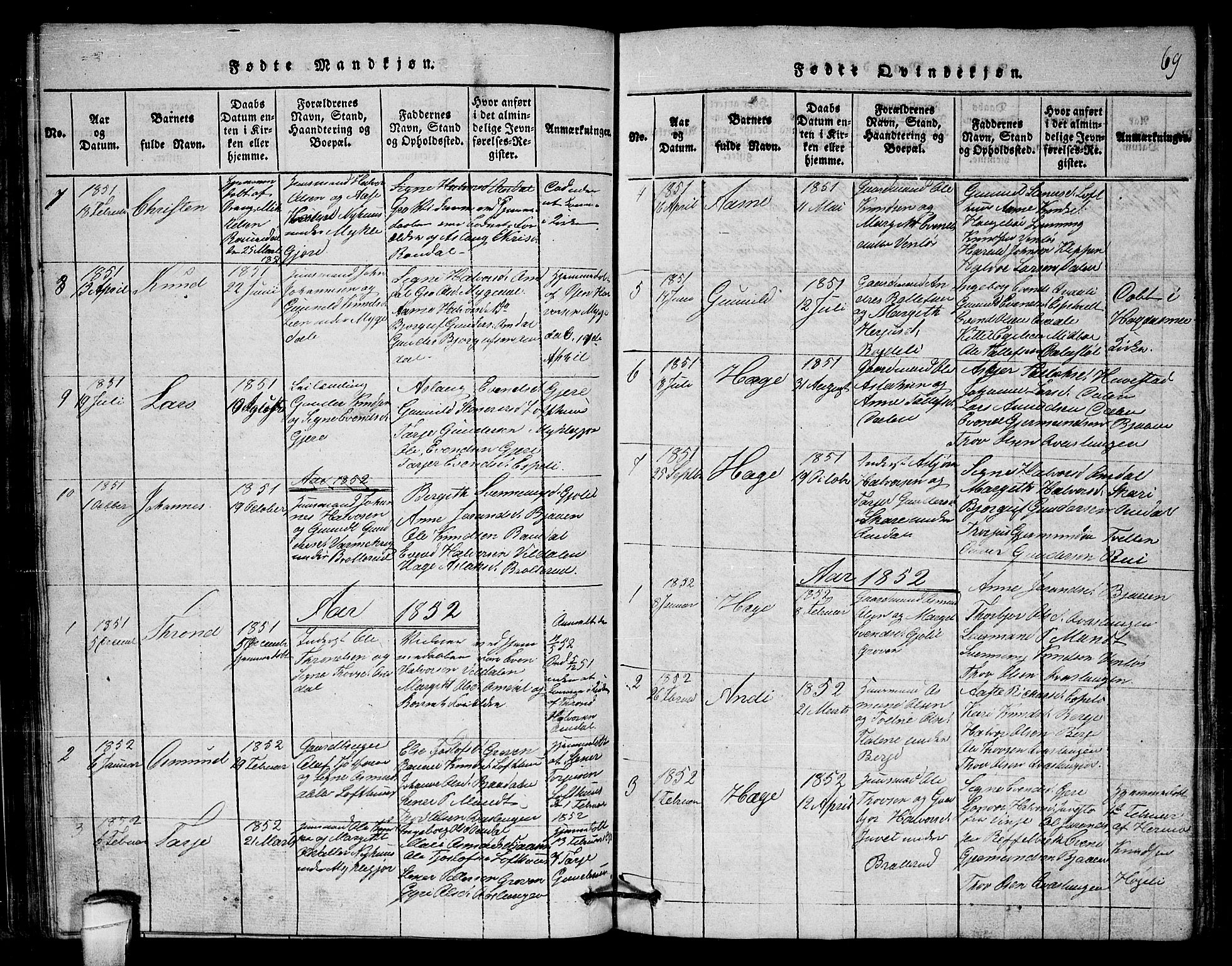 SAKO, Lårdal kirkebøker, G/Gb/L0001: Klokkerbok nr. II 1, 1815-1865, s. 69
