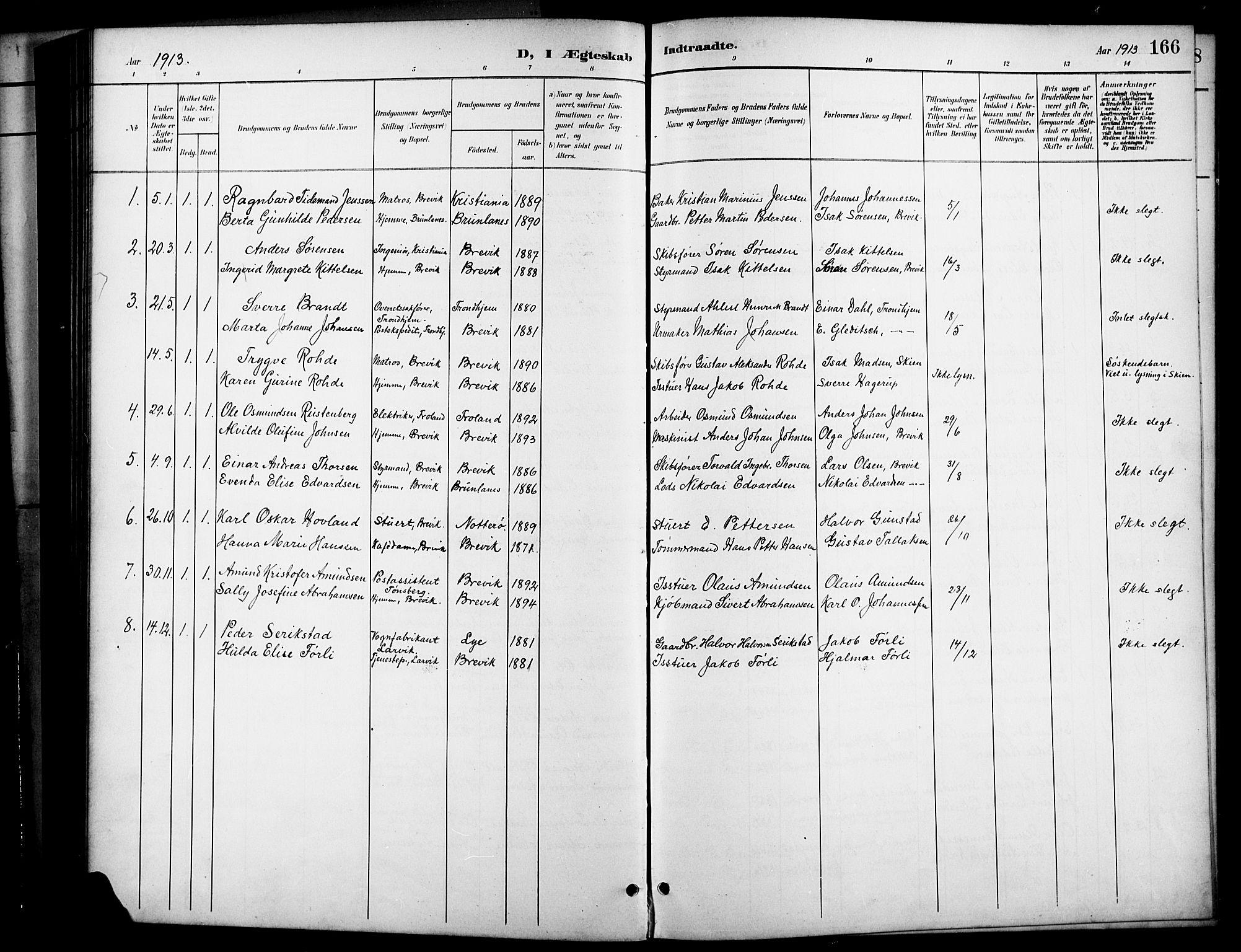SAKO, Brevik kirkebøker, G/Ga/L0005: Klokkerbok nr. 5, 1901-1924, s. 166