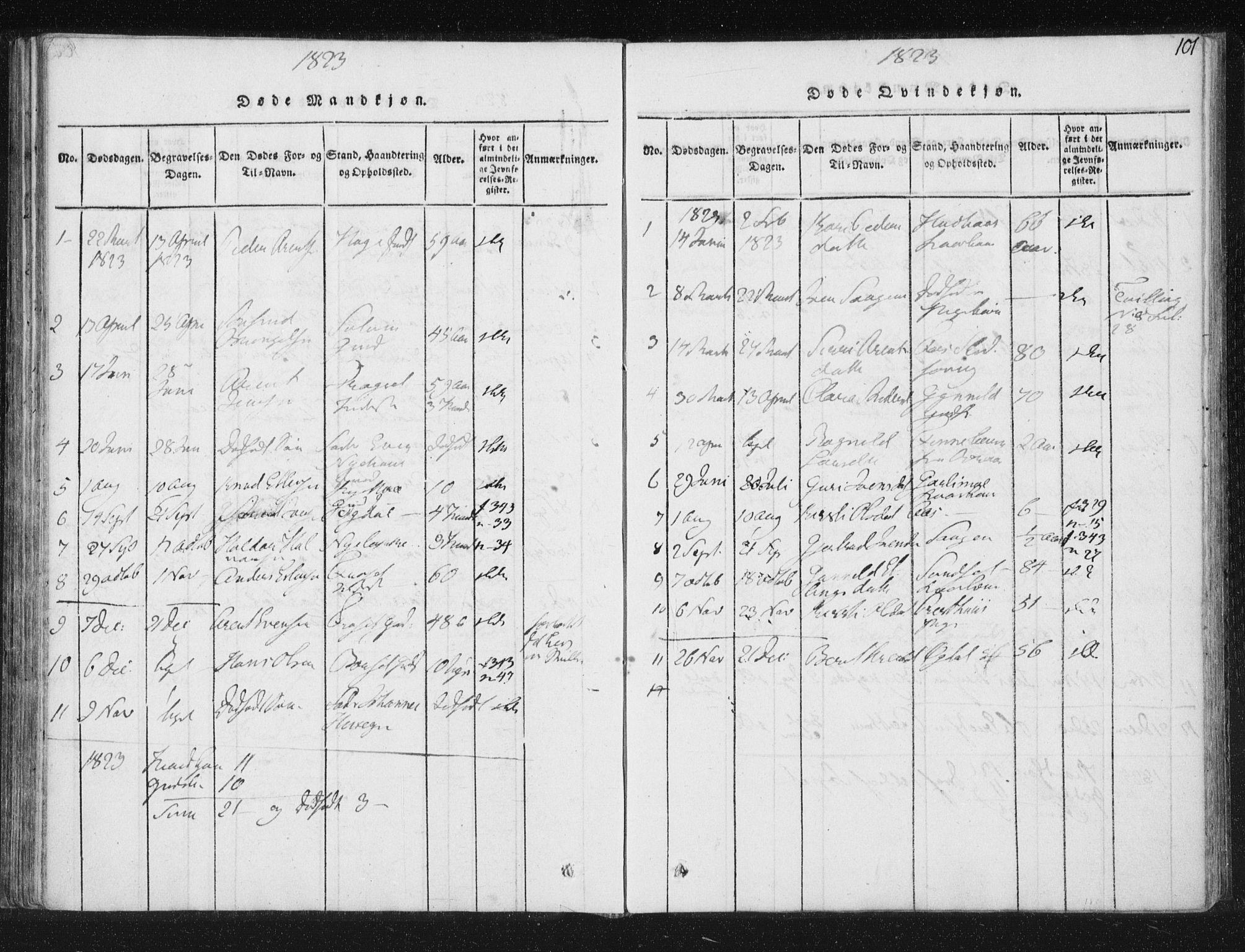 SAT, Ministerialprotokoller, klokkerbøker og fødselsregistre - Sør-Trøndelag, 689/L1037: Ministerialbok nr. 689A02, 1816-1842, s. 101