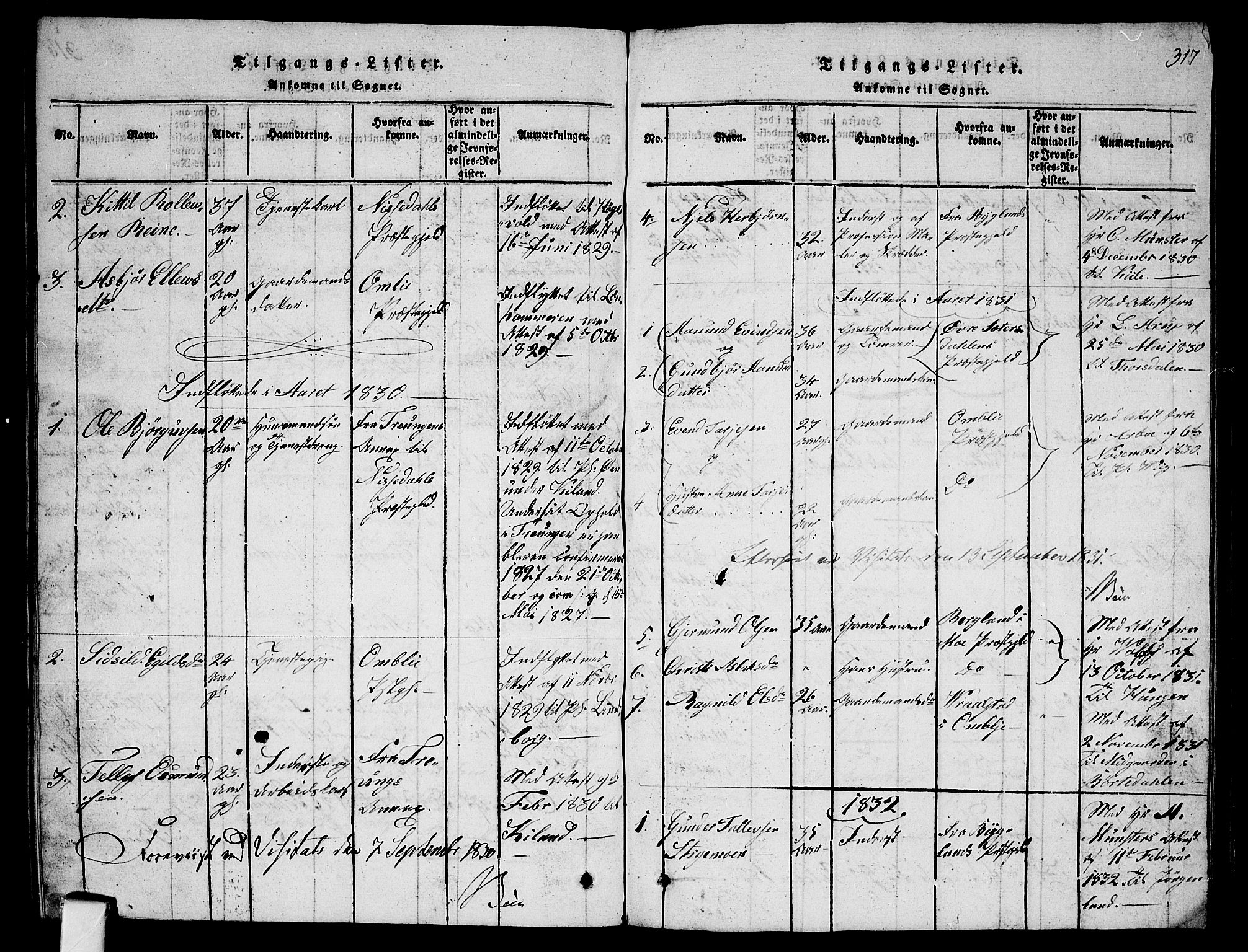 SAKO, Fyresdal kirkebøker, G/Ga/L0001: Klokkerbok nr. I 1, 1816-1840, s. 317