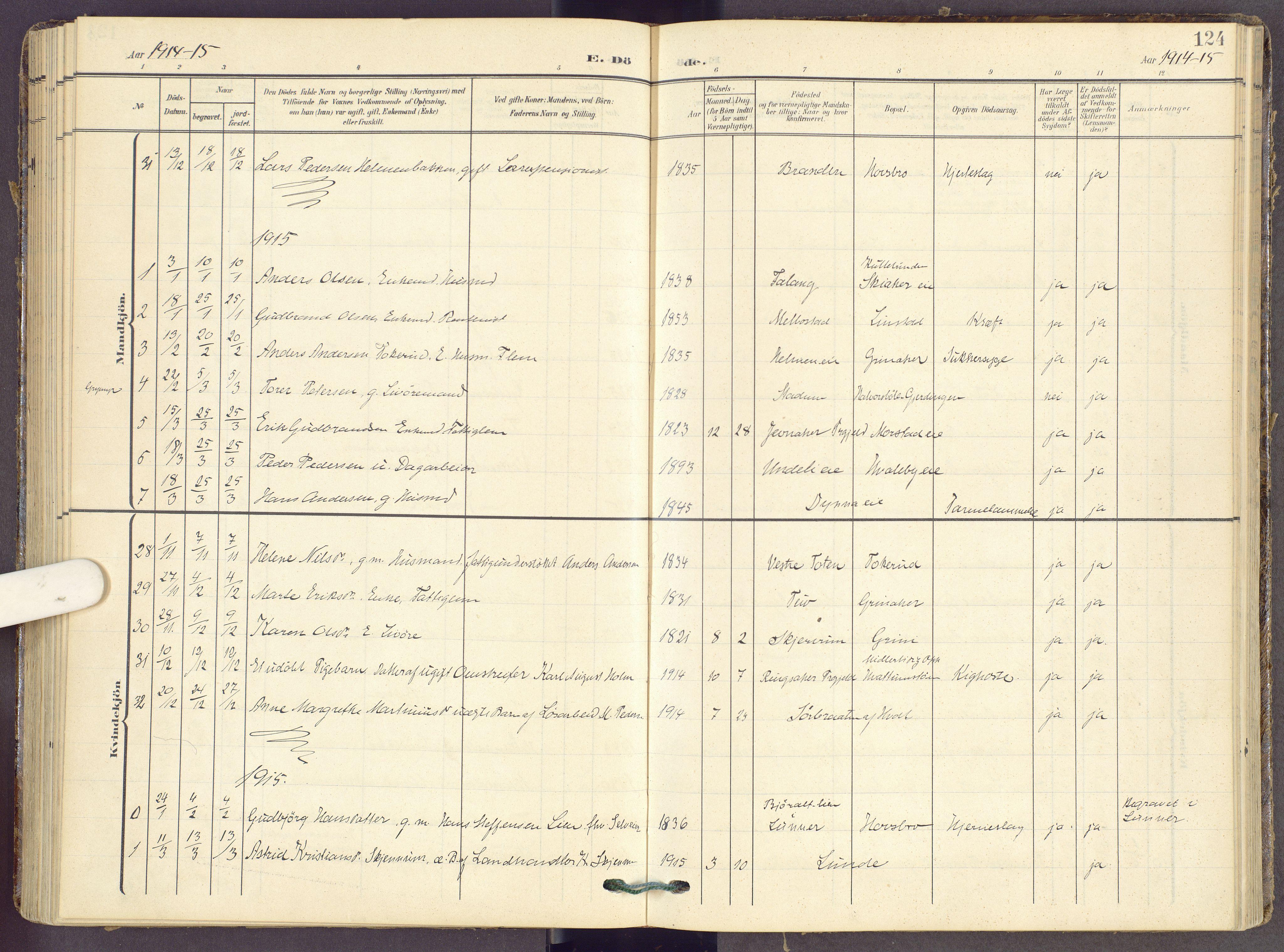 SAH, Gran prestekontor, Ministerialbok nr. 22, 1908-1918, s. 124