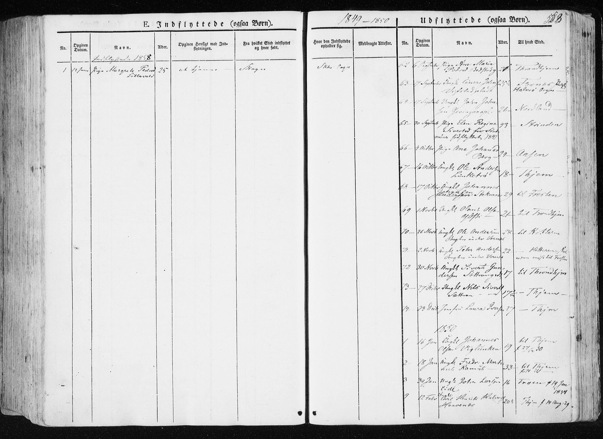 SAT, Ministerialprotokoller, klokkerbøker og fødselsregistre - Nord-Trøndelag, 709/L0074: Ministerialbok nr. 709A14, 1845-1858, s. 553