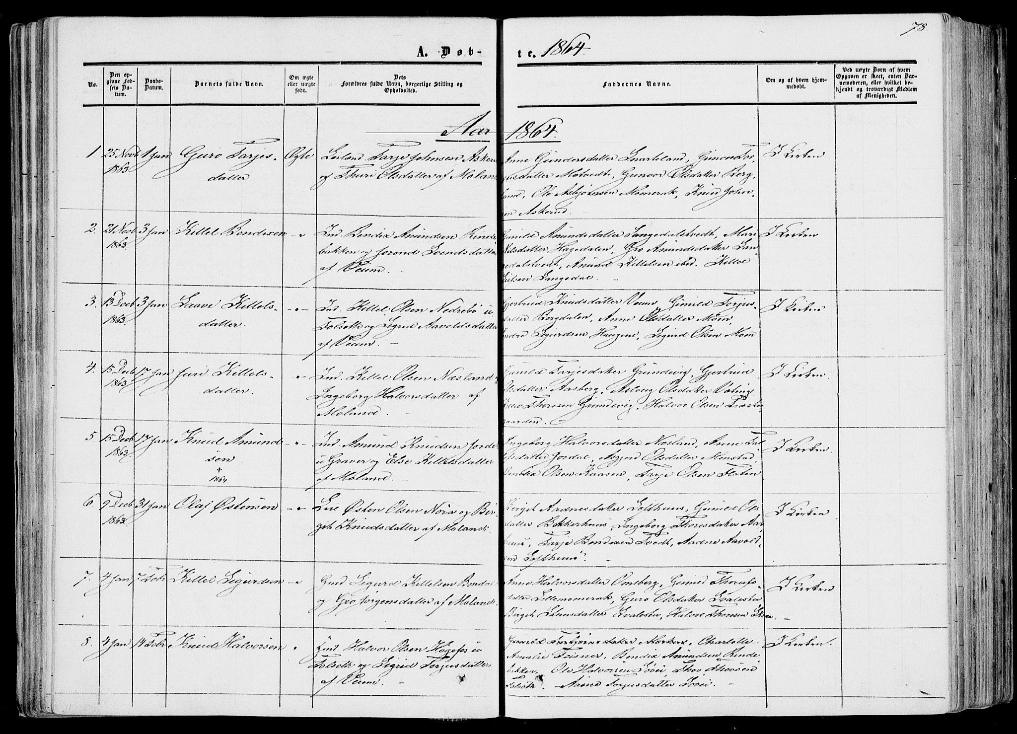 SAKO, Fyresdal kirkebøker, F/Fa/L0005: Ministerialbok nr. I 5, 1855-1871, s. 78