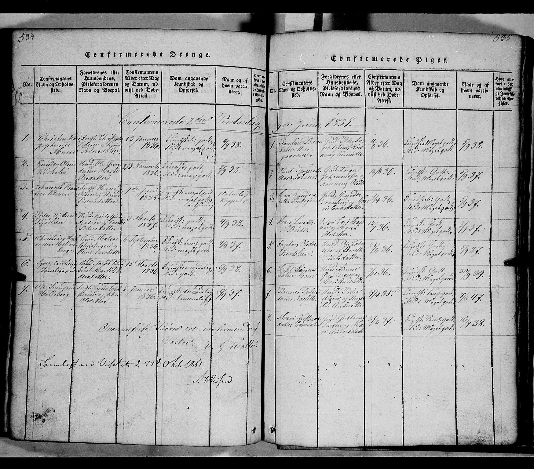SAH, Gausdal prestekontor, Klokkerbok nr. 2, 1818-1874, s. 534-535