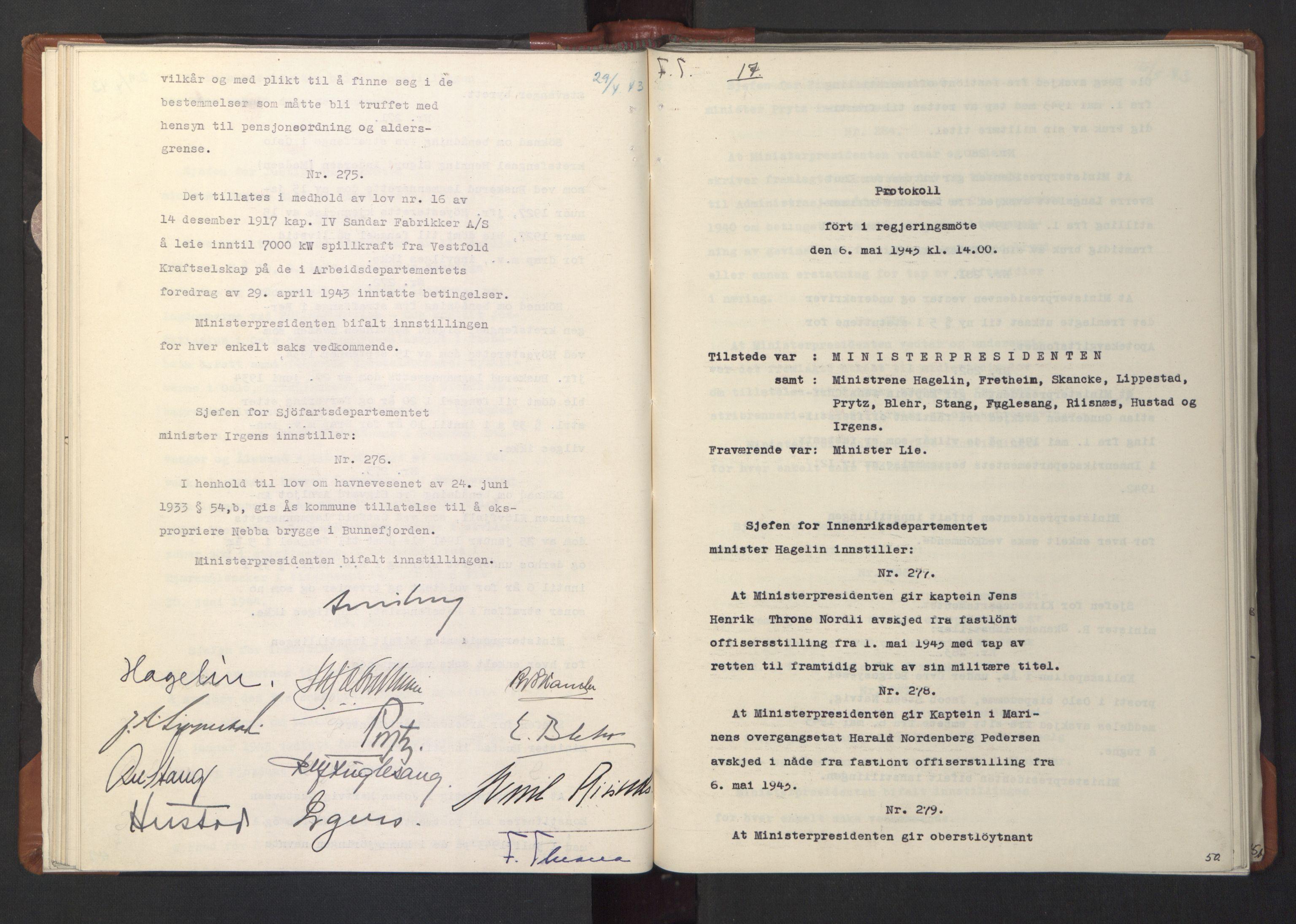 RA, NS-administrasjonen 1940-1945 (Statsrådsekretariatet, de kommisariske statsråder mm), D/Da/L0003: Vedtak (Beslutninger) nr. 1-746 og tillegg nr. 1-47 (RA. j.nr. 1394/1944, tilgangsnr. 8/1944, 1943, s. 49b-50a