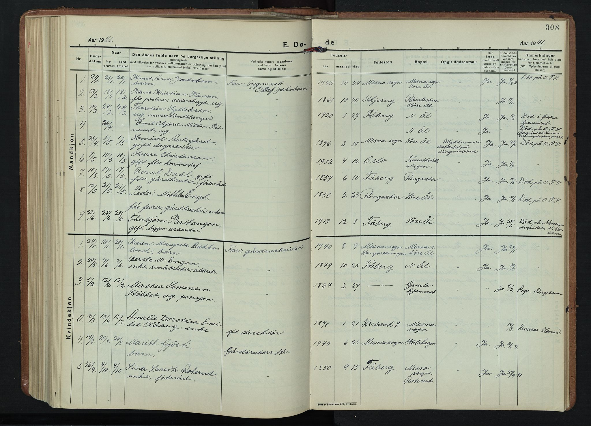 SAH, Fåberg prestekontor, Klokkerbok nr. 15, 1924-1949, s. 308