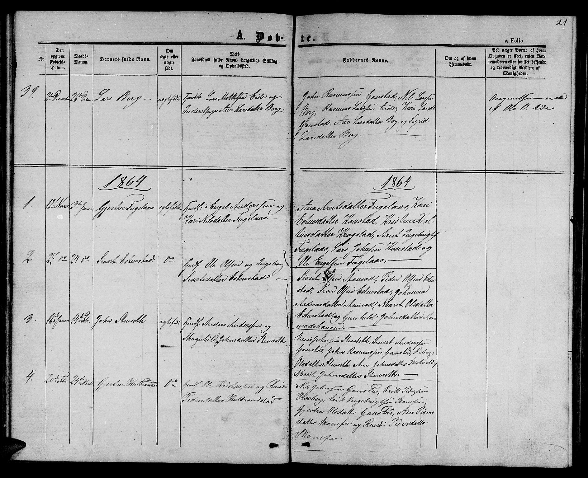 SAT, Ministerialprotokoller, klokkerbøker og fødselsregistre - Sør-Trøndelag, 694/L1131: Klokkerbok nr. 694C03, 1858-1886, s. 21