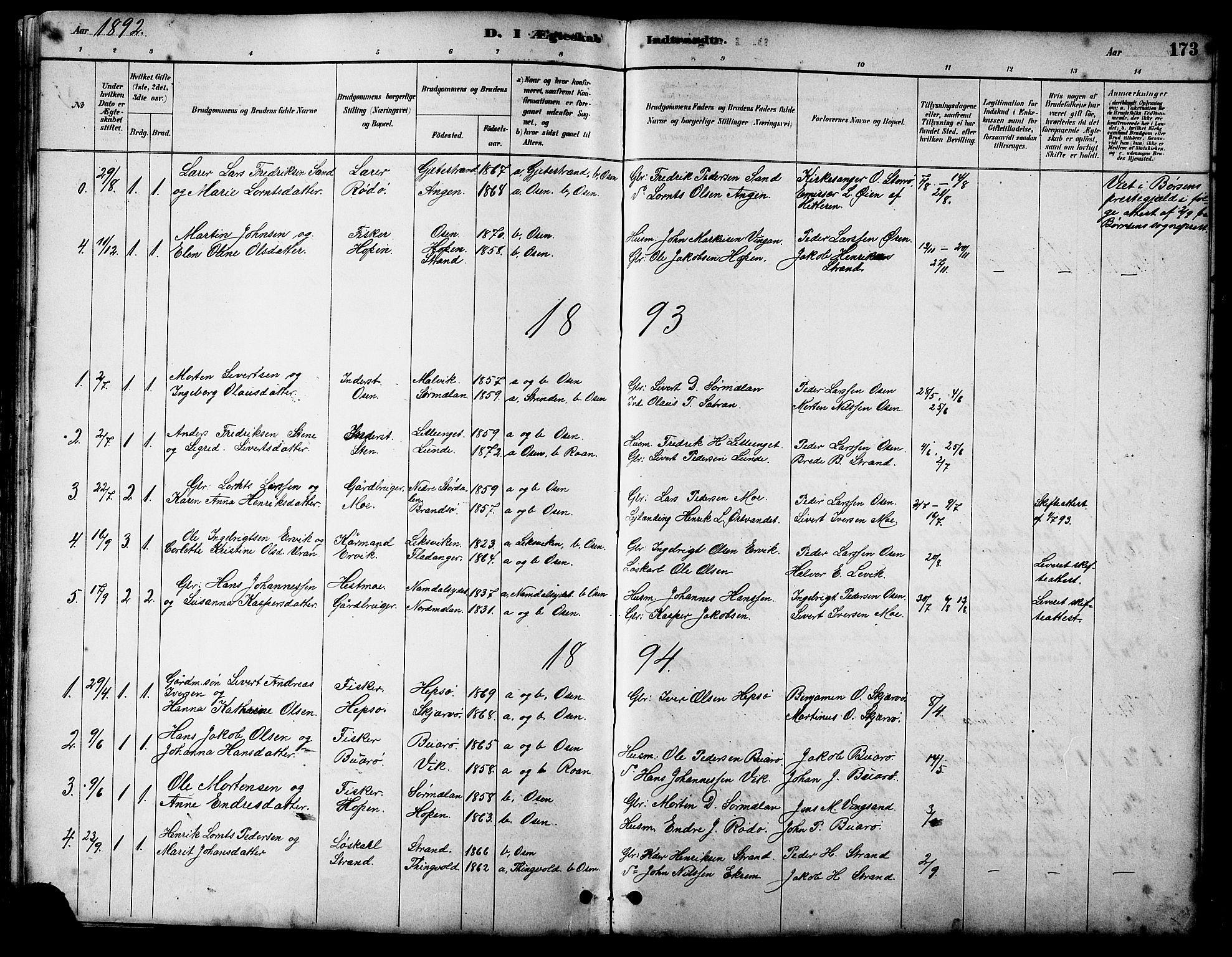 SAT, Ministerialprotokoller, klokkerbøker og fødselsregistre - Sør-Trøndelag, 658/L0726: Klokkerbok nr. 658C02, 1883-1908, s. 173