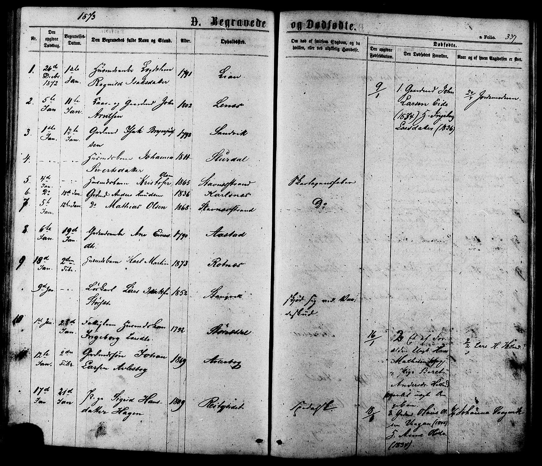 SAT, Ministerialprotokoller, klokkerbøker og fødselsregistre - Sør-Trøndelag, 630/L0495: Ministerialbok nr. 630A08, 1868-1878, s. 337