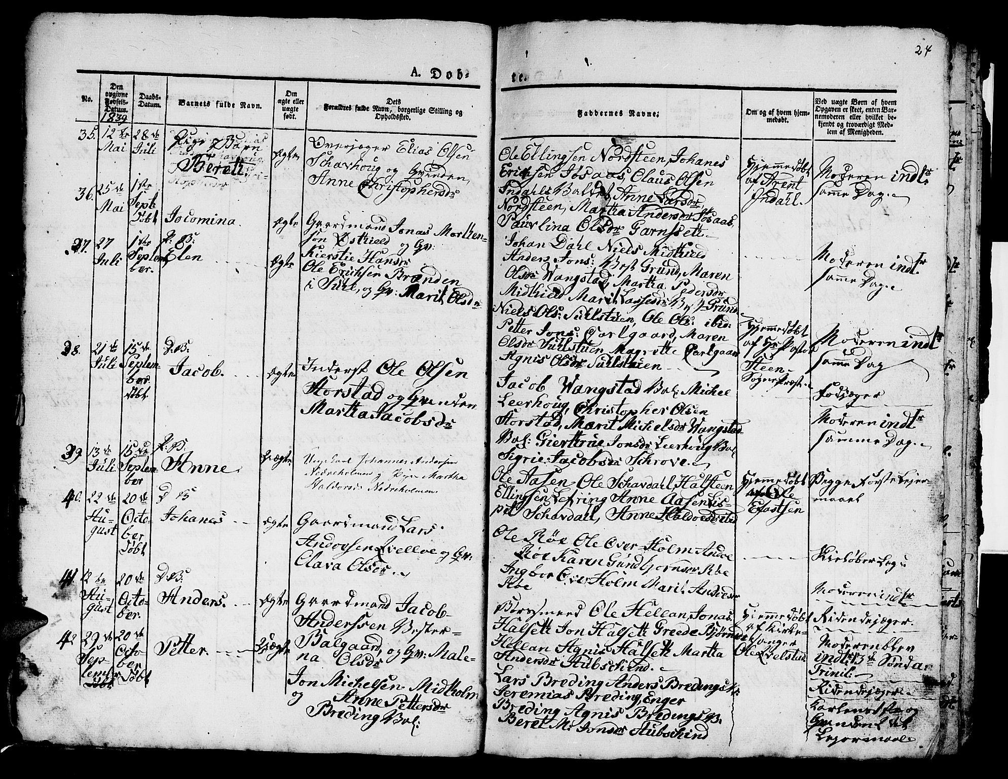 SAT, Ministerialprotokoller, klokkerbøker og fødselsregistre - Nord-Trøndelag, 724/L0266: Klokkerbok nr. 724C02, 1836-1843, s. 24