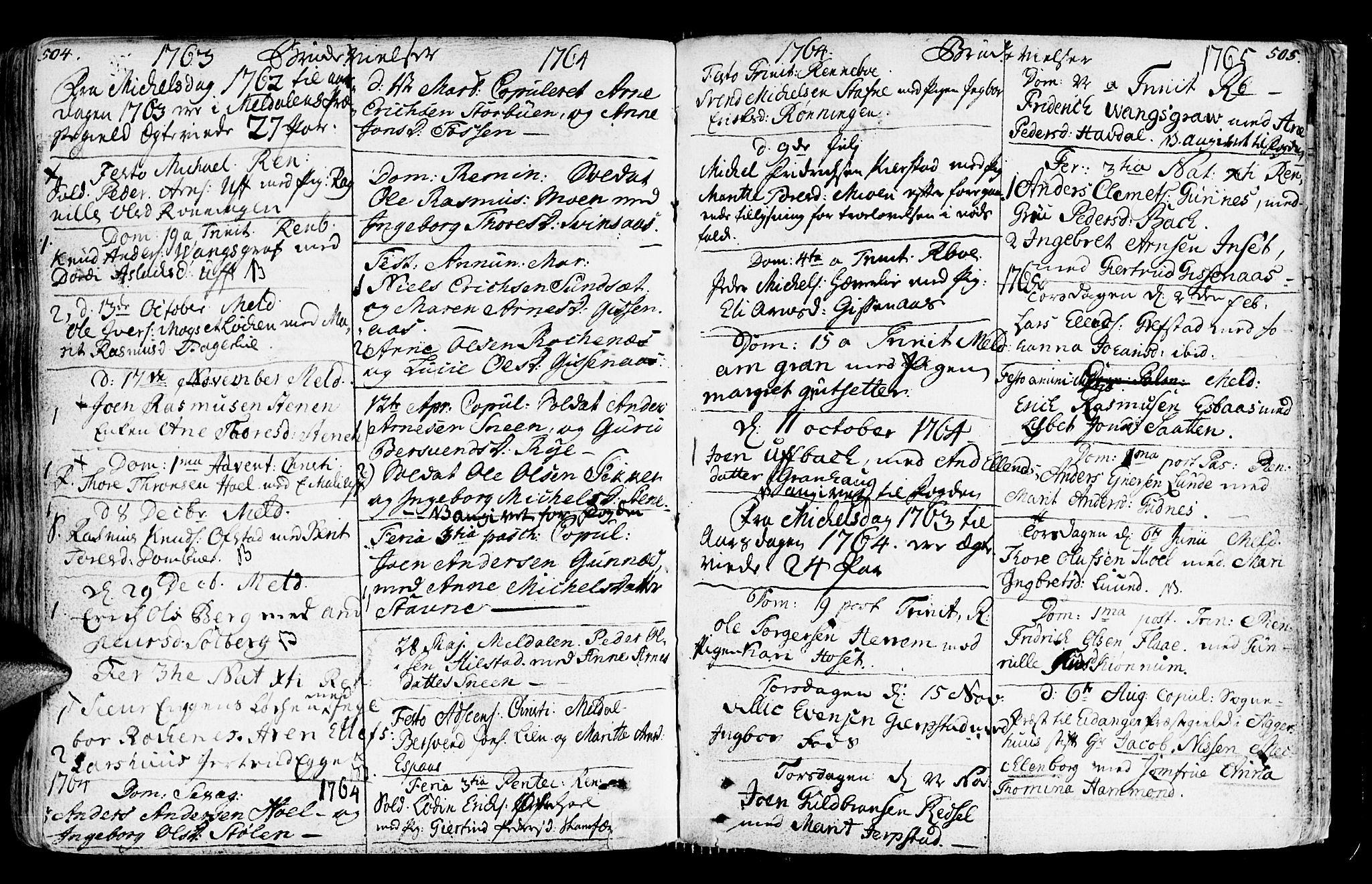 SAT, Ministerialprotokoller, klokkerbøker og fødselsregistre - Sør-Trøndelag, 672/L0851: Ministerialbok nr. 672A04, 1751-1775, s. 504-505