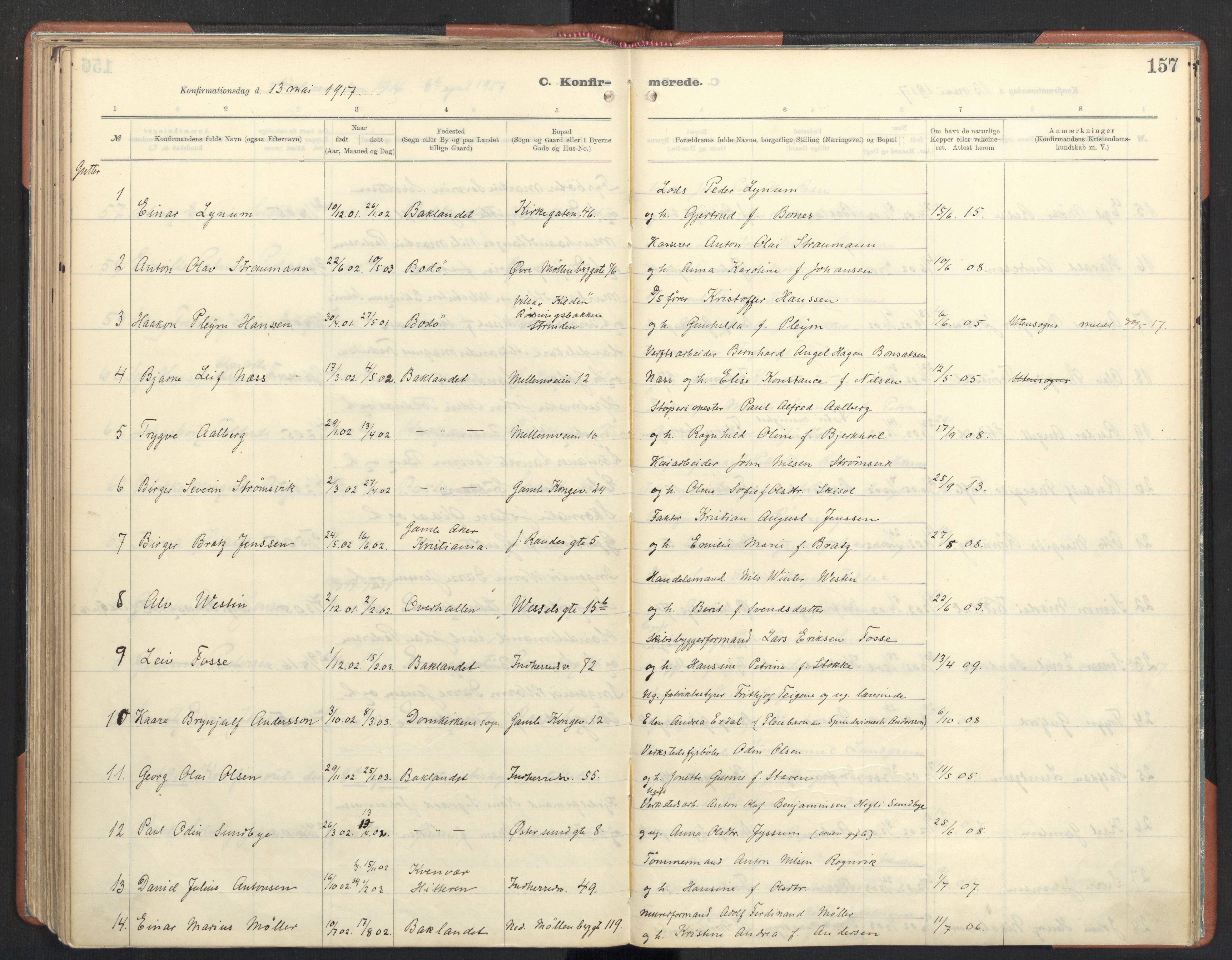 SAT, Ministerialprotokoller, klokkerbøker og fødselsregistre - Sør-Trøndelag, 605/L0246: Ministerialbok nr. 605A08, 1916-1920, s. 157