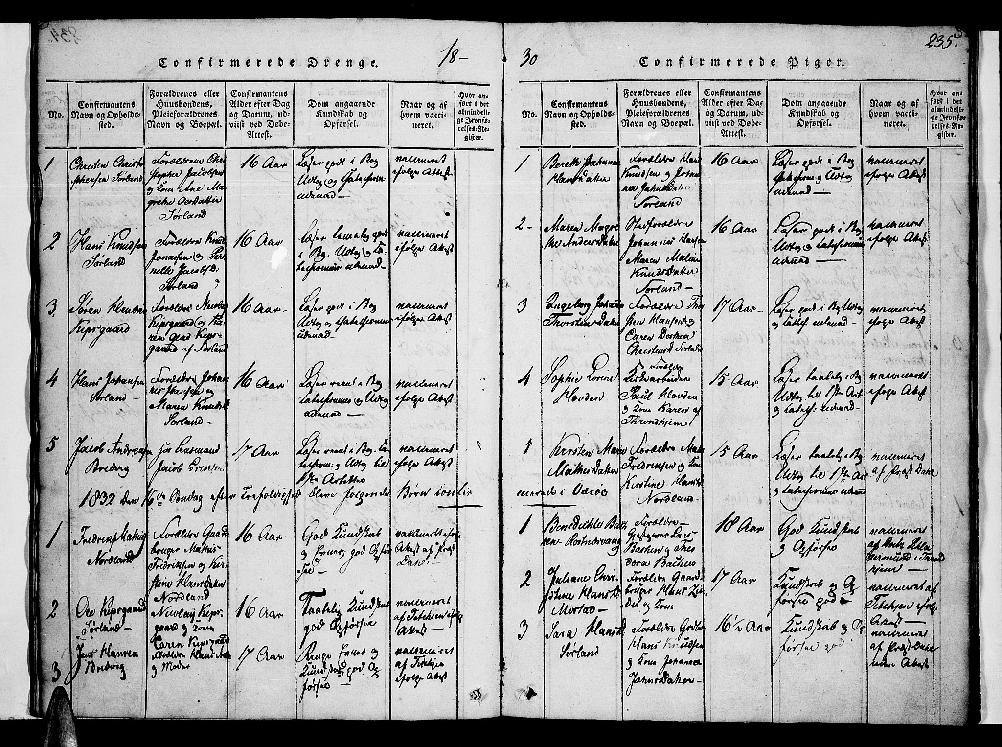 SAT, Ministerialprotokoller, klokkerbøker og fødselsregistre - Nordland, 807/L0120: Ministerialbok nr. 807A03, 1821-1848, s. 235