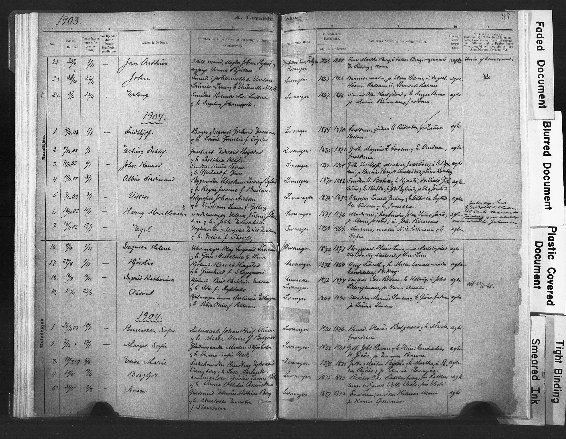 SAT, Ministerialprotokoller, klokkerbøker og fødselsregistre - Nord-Trøndelag, 720/L0189: Ministerialbok nr. 720A05, 1880-1911, s. 37