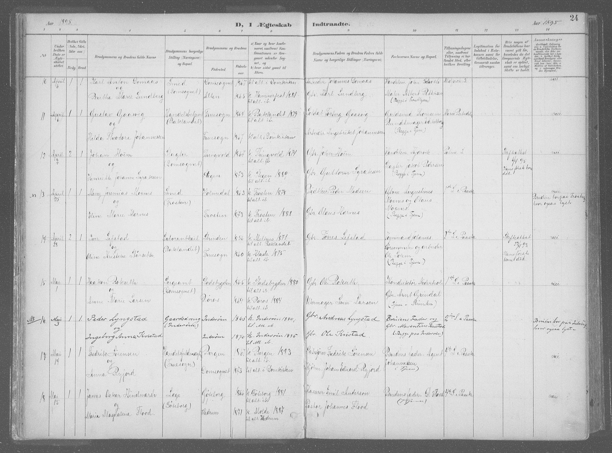 SAT, Ministerialprotokoller, klokkerbøker og fødselsregistre - Sør-Trøndelag, 601/L0064: Ministerialbok nr. 601A31, 1891-1911, s. 24